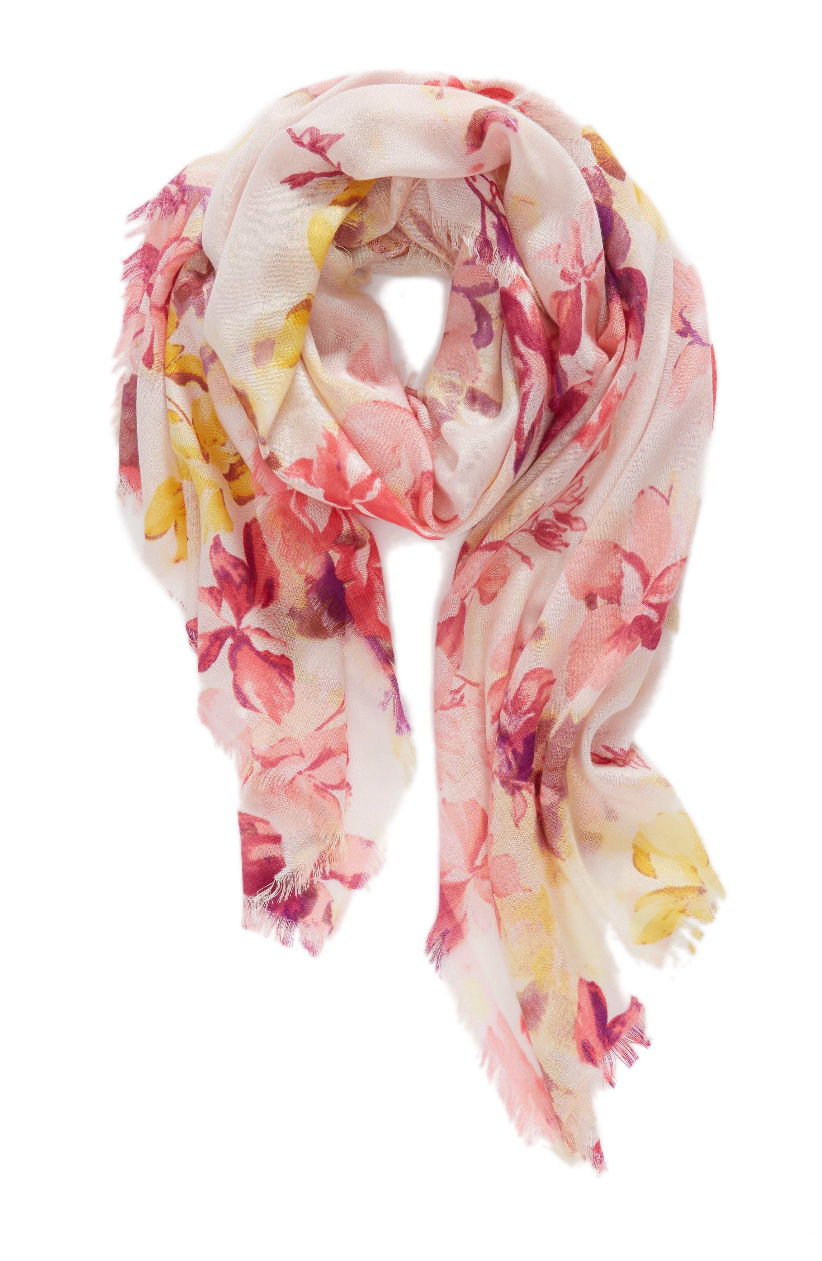 Eyelash Trim Print Cashmere & Silk Wrap,                             Alternate thumbnail 2, color,                             Pink Frosted Petals