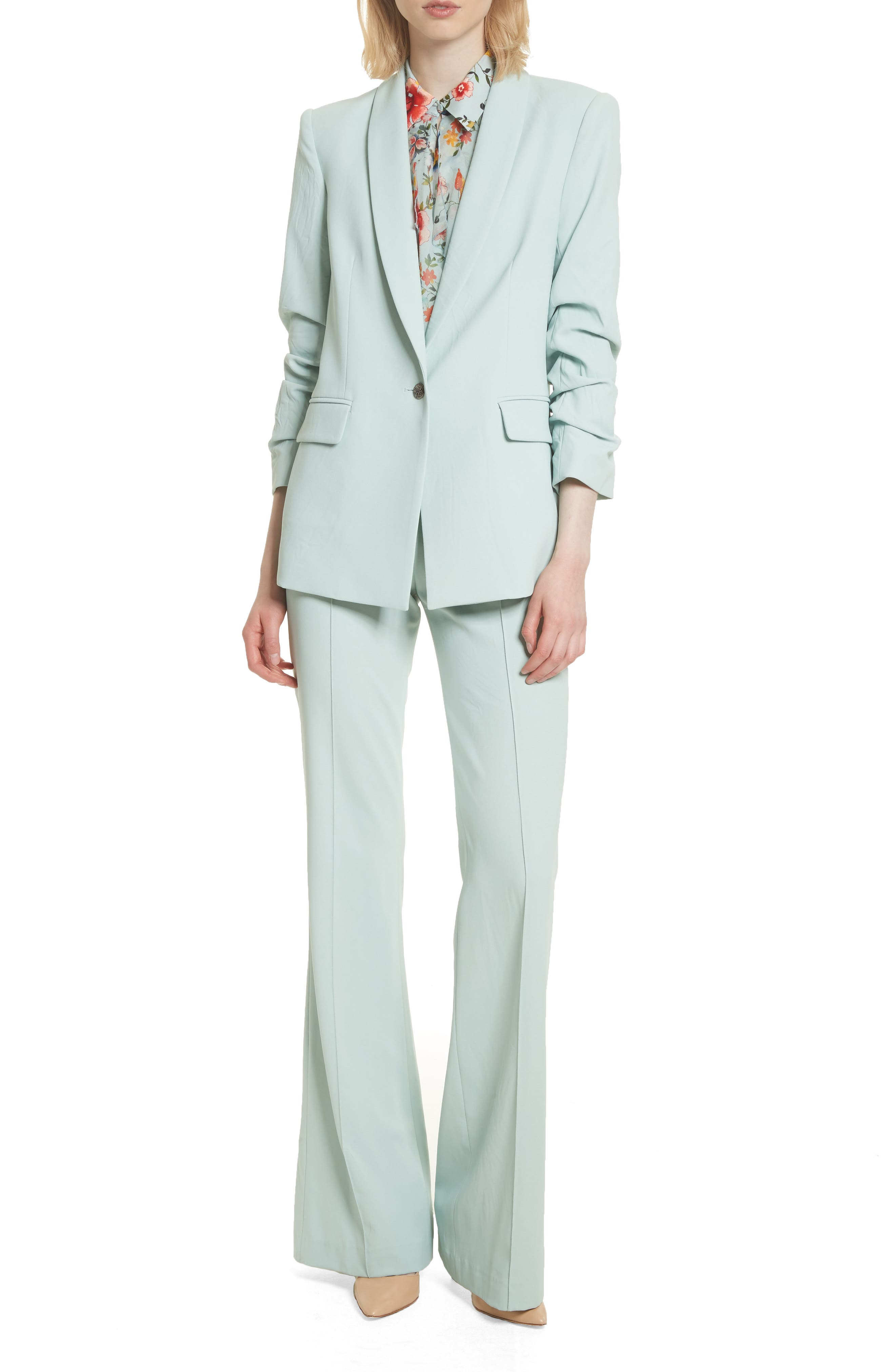Ruched Sleeve Blazer,                             Alternate thumbnail 7, color,                             Light Dusty Aqua