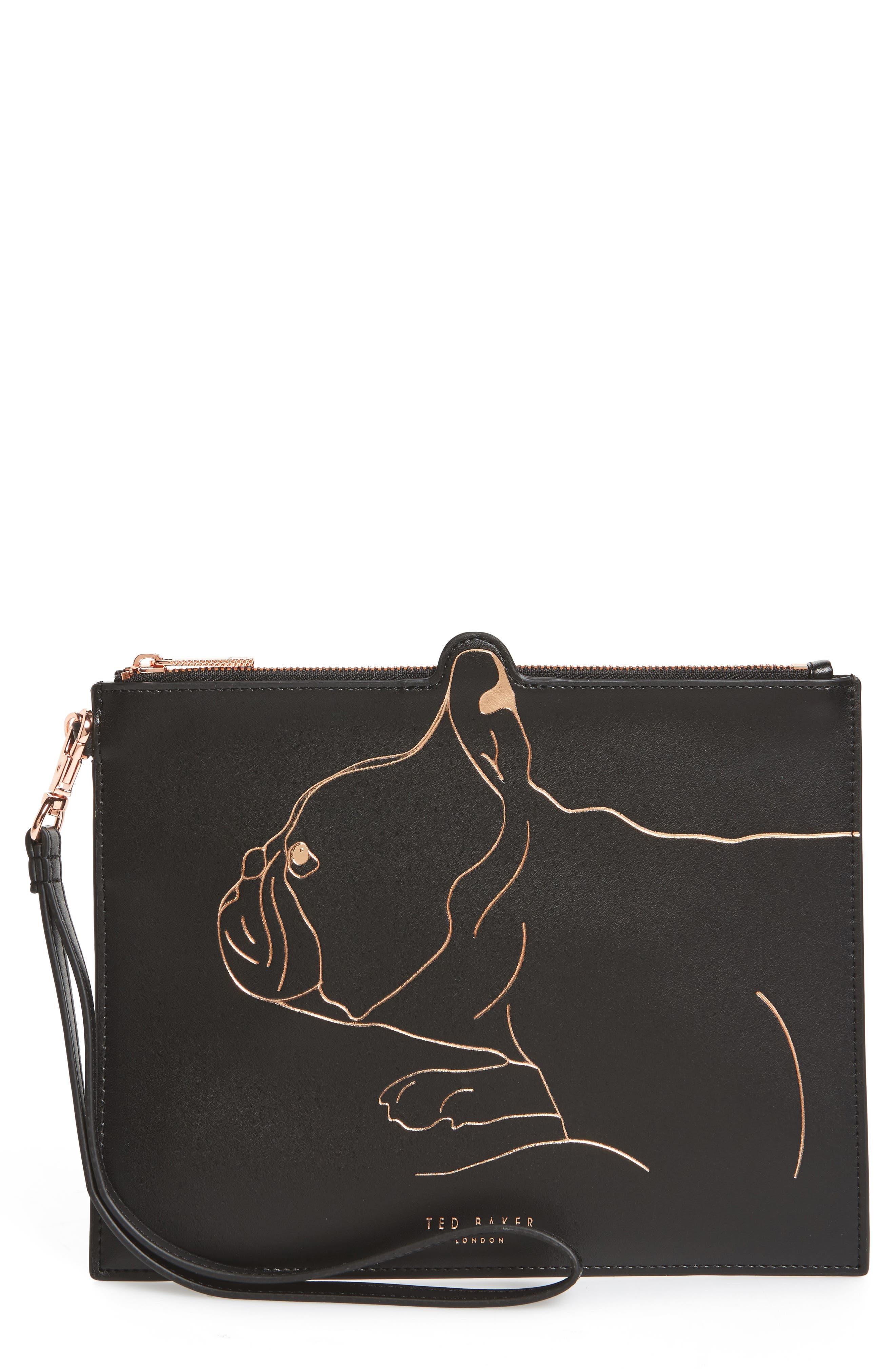 Barker Leather Pouch,                             Main thumbnail 1, color,                             Black
