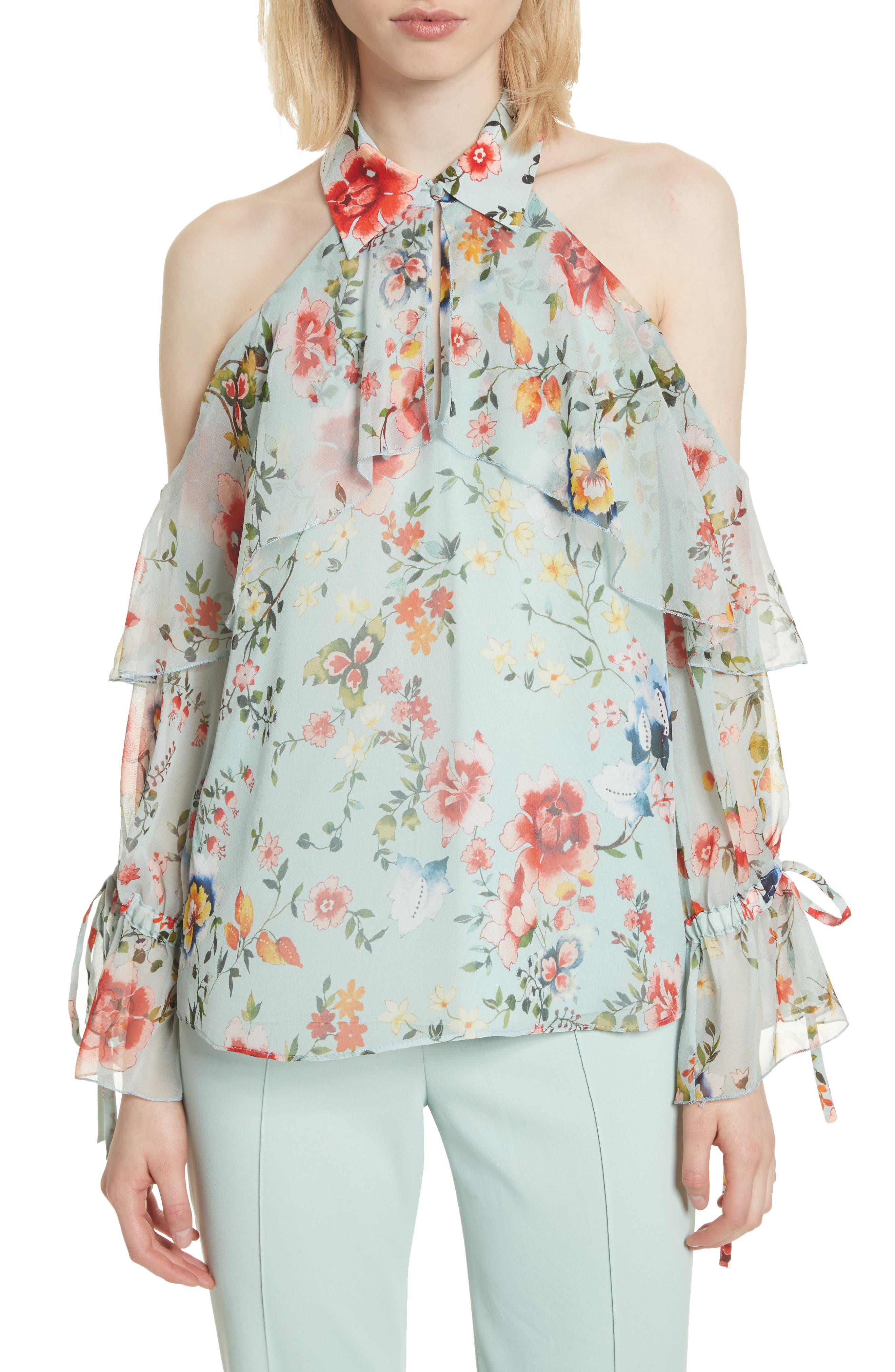 Blayne Cold Shoulder Floral Silk Blouse,                             Main thumbnail 1, color,                             Floral Soiree-Dusty Aqua