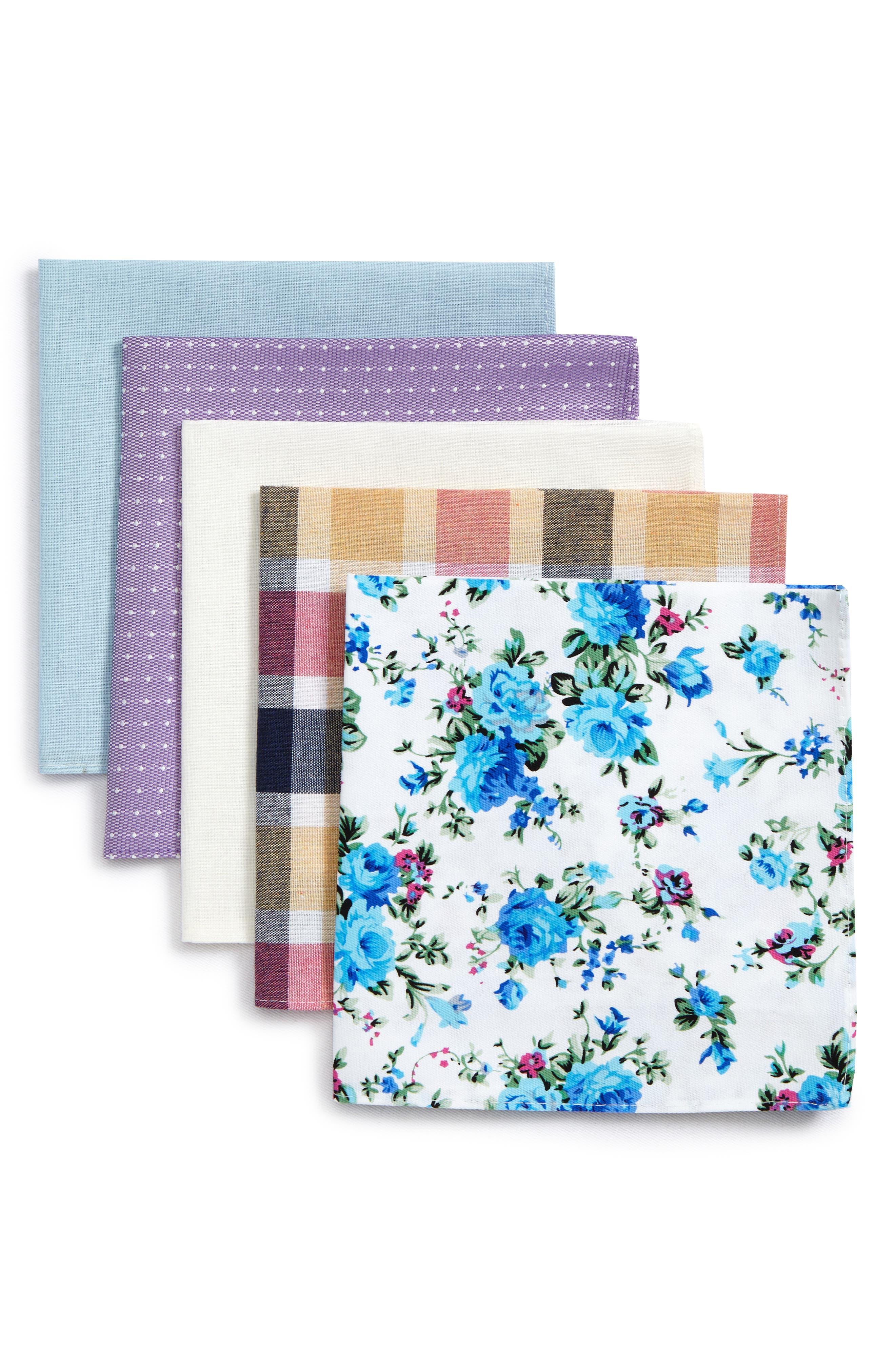 5-Pack Cotton Pocket Squares,                             Main thumbnail 1, color,                             Purple