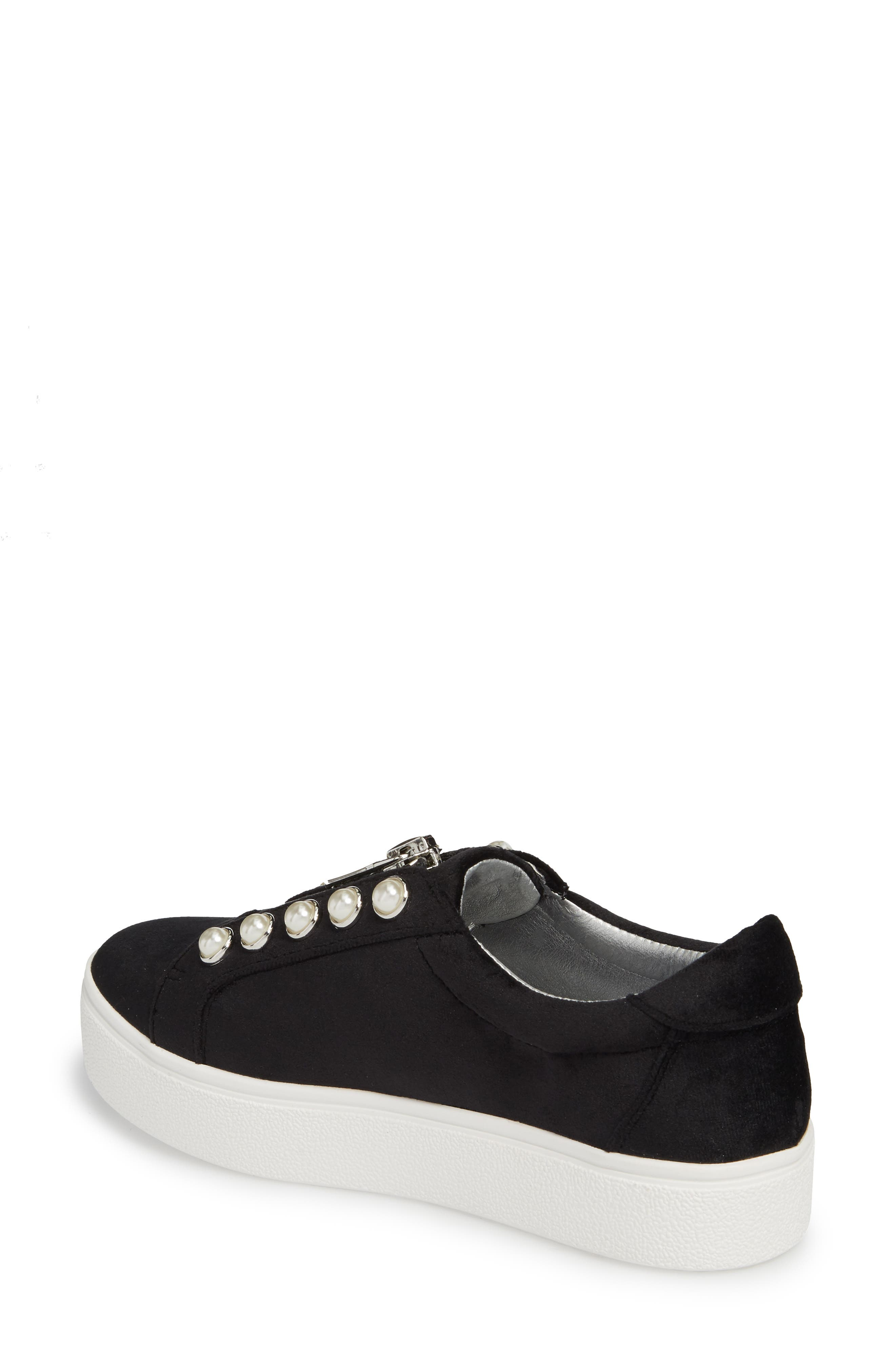 Lynn Embellished Platform Sneaker,                             Alternate thumbnail 2, color,                             Black Velvet