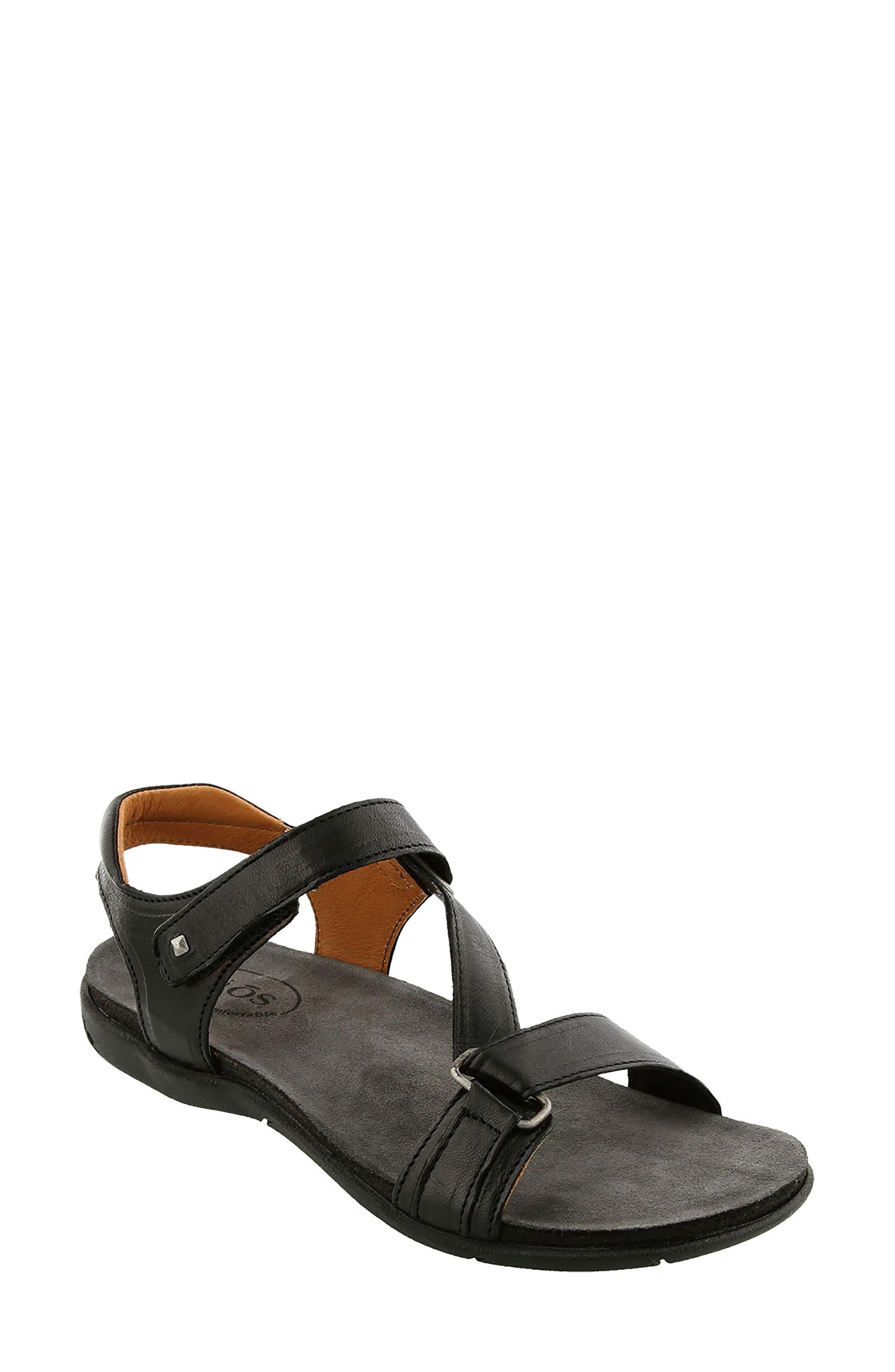 Zeal Sandal,                             Main thumbnail 1, color,                             Black Leather