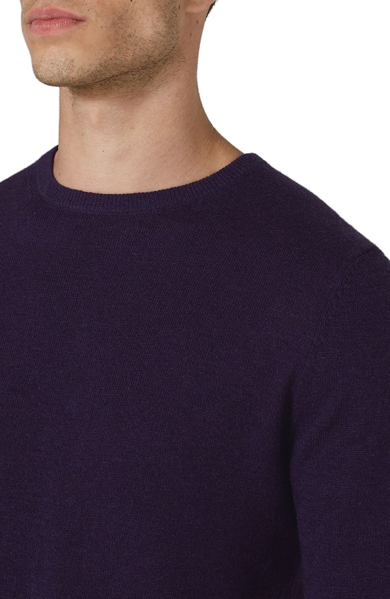 Slim Fit Crewneck Sweater,                             Alternate thumbnail 3, color,                             Dark Purple