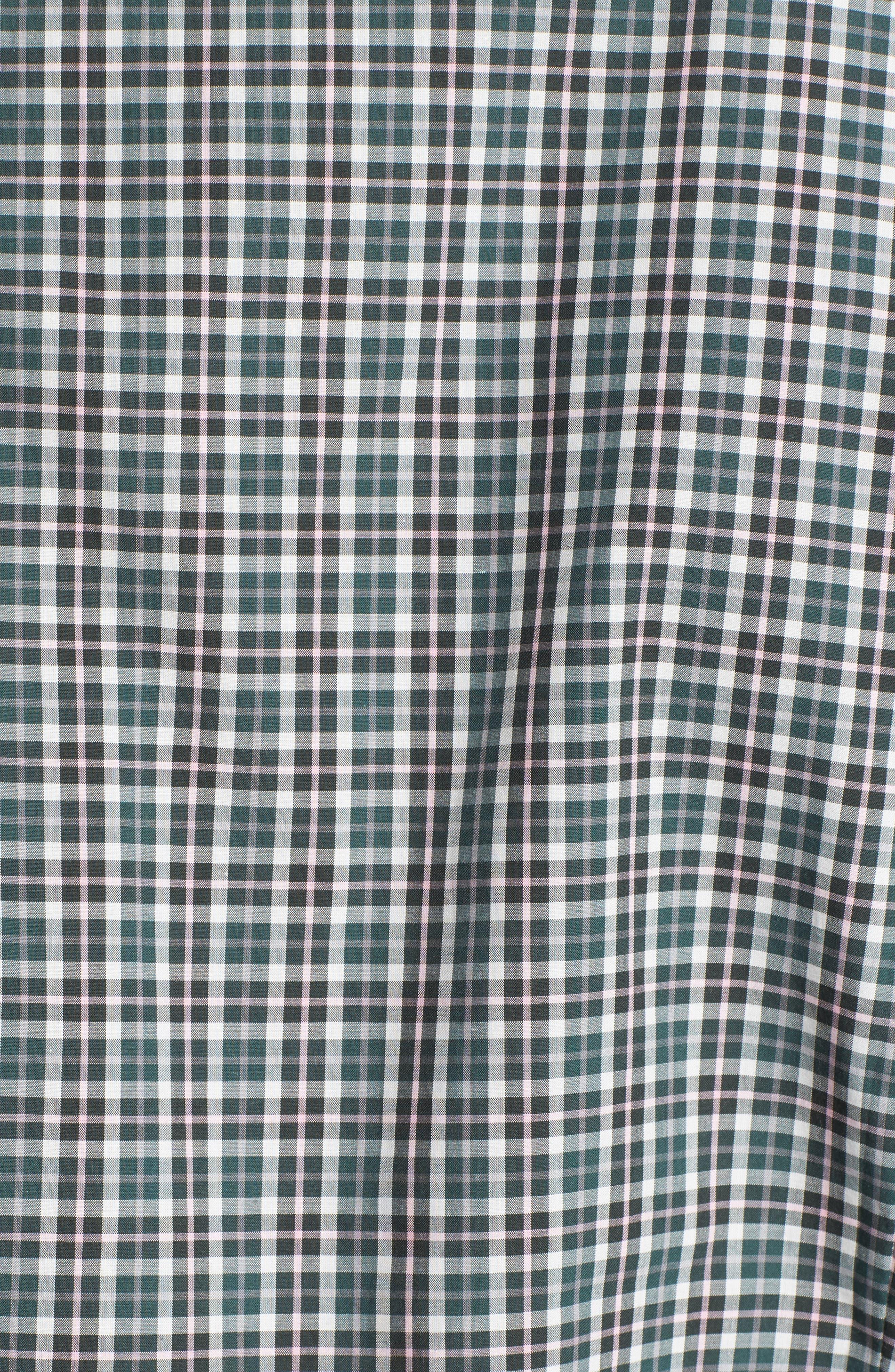 Comfort Fit Plaid Sport Shirt,                             Alternate thumbnail 5, color,                             Medium Green