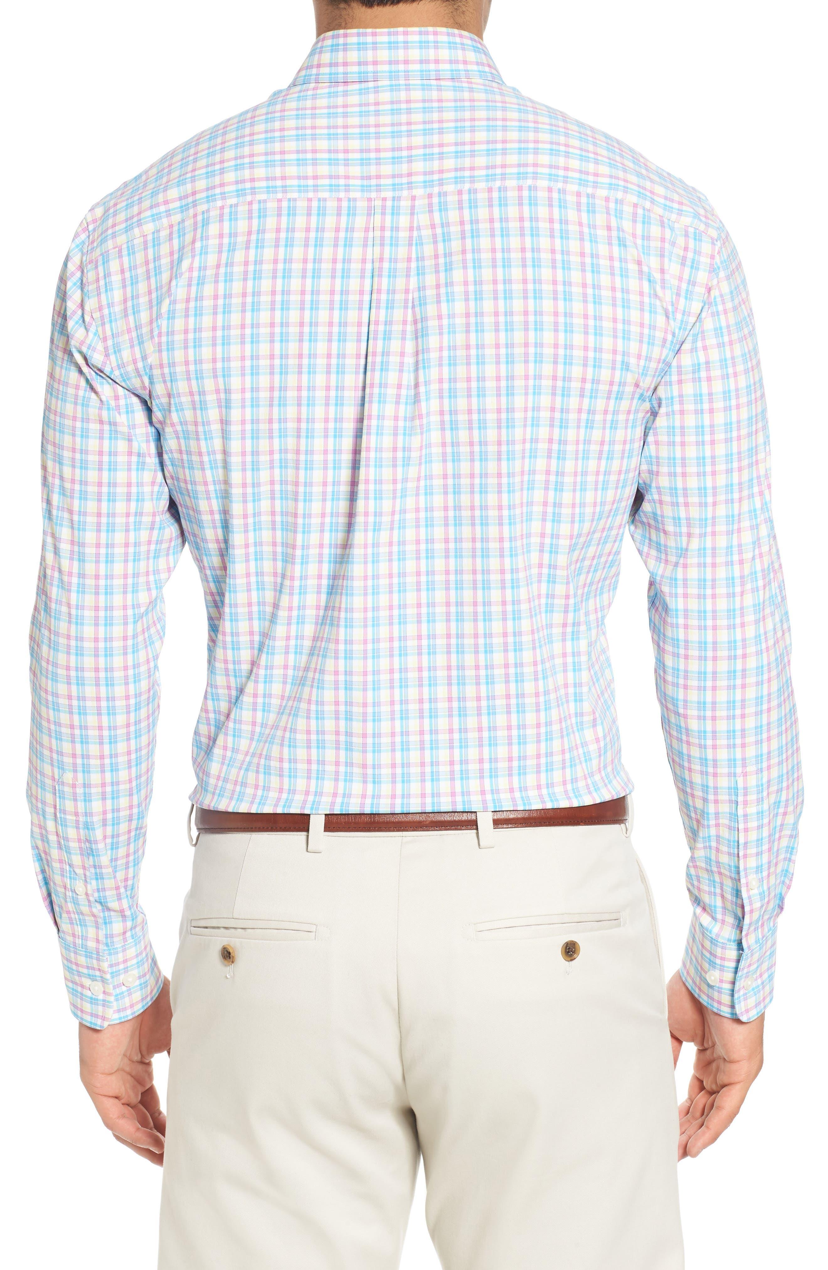 Dorian Plaid Easy Care Sport Shirt,                             Alternate thumbnail 2, color,                             White