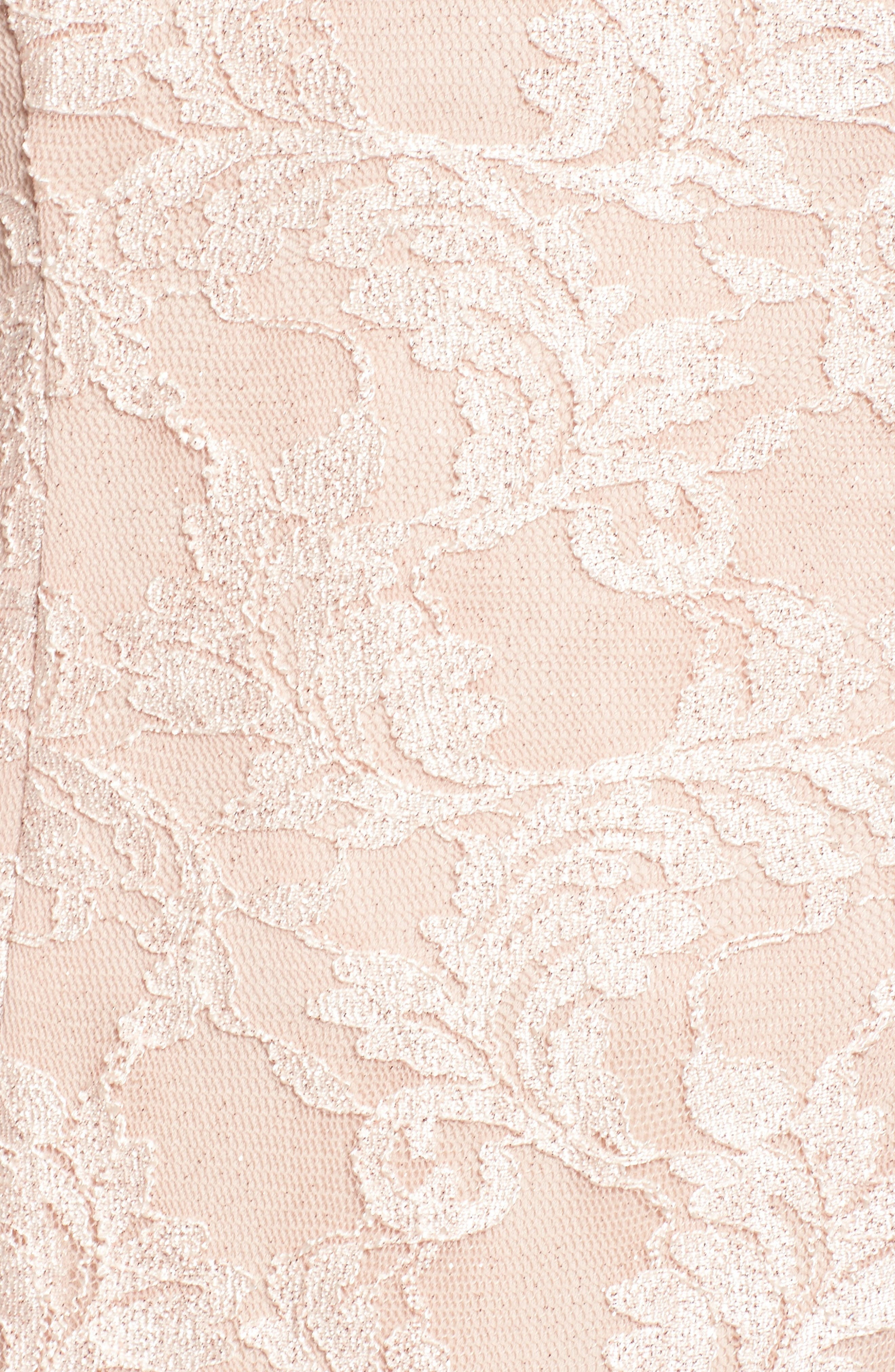 Strappy Lace Mermaid Gown,                             Alternate thumbnail 5, color,                             Blush / Nude