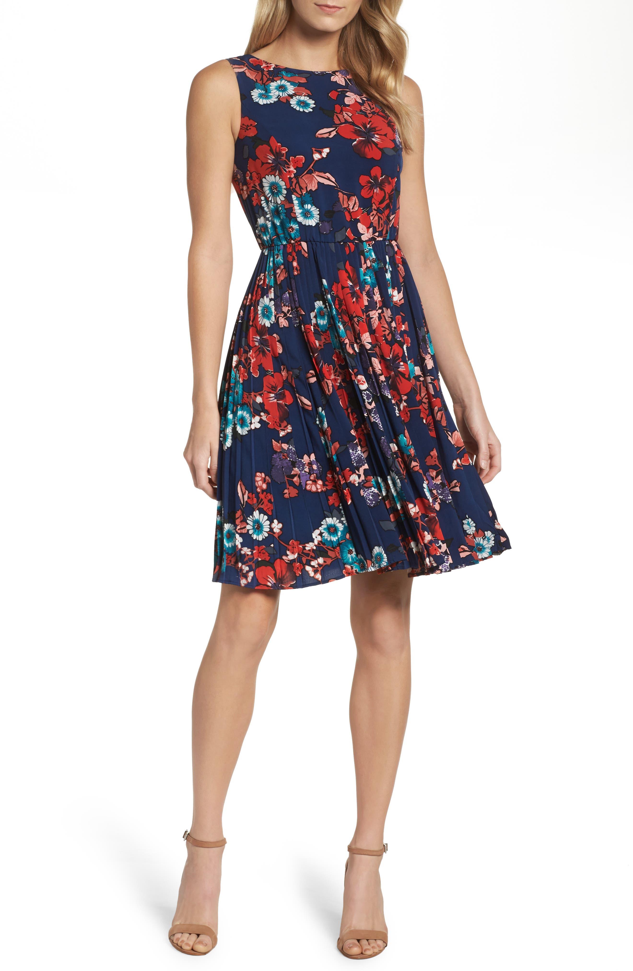 Botanical Soiree Fit & Flare Dress,                             Main thumbnail 1, color,                             Blue Multi