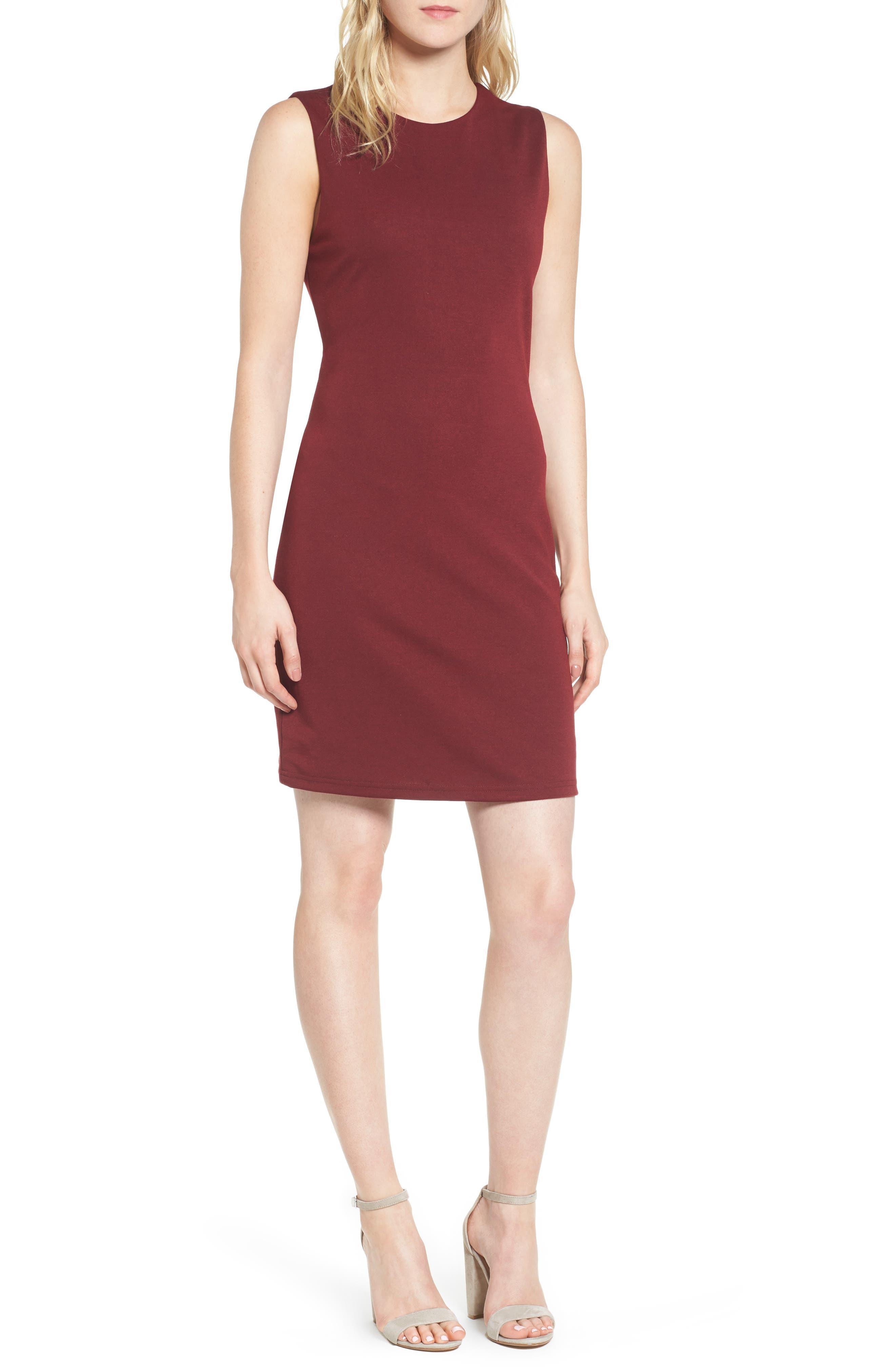 Bishop + Young Ponte Knit Sheath Dress,                             Main thumbnail 1, color,                             Burgundy