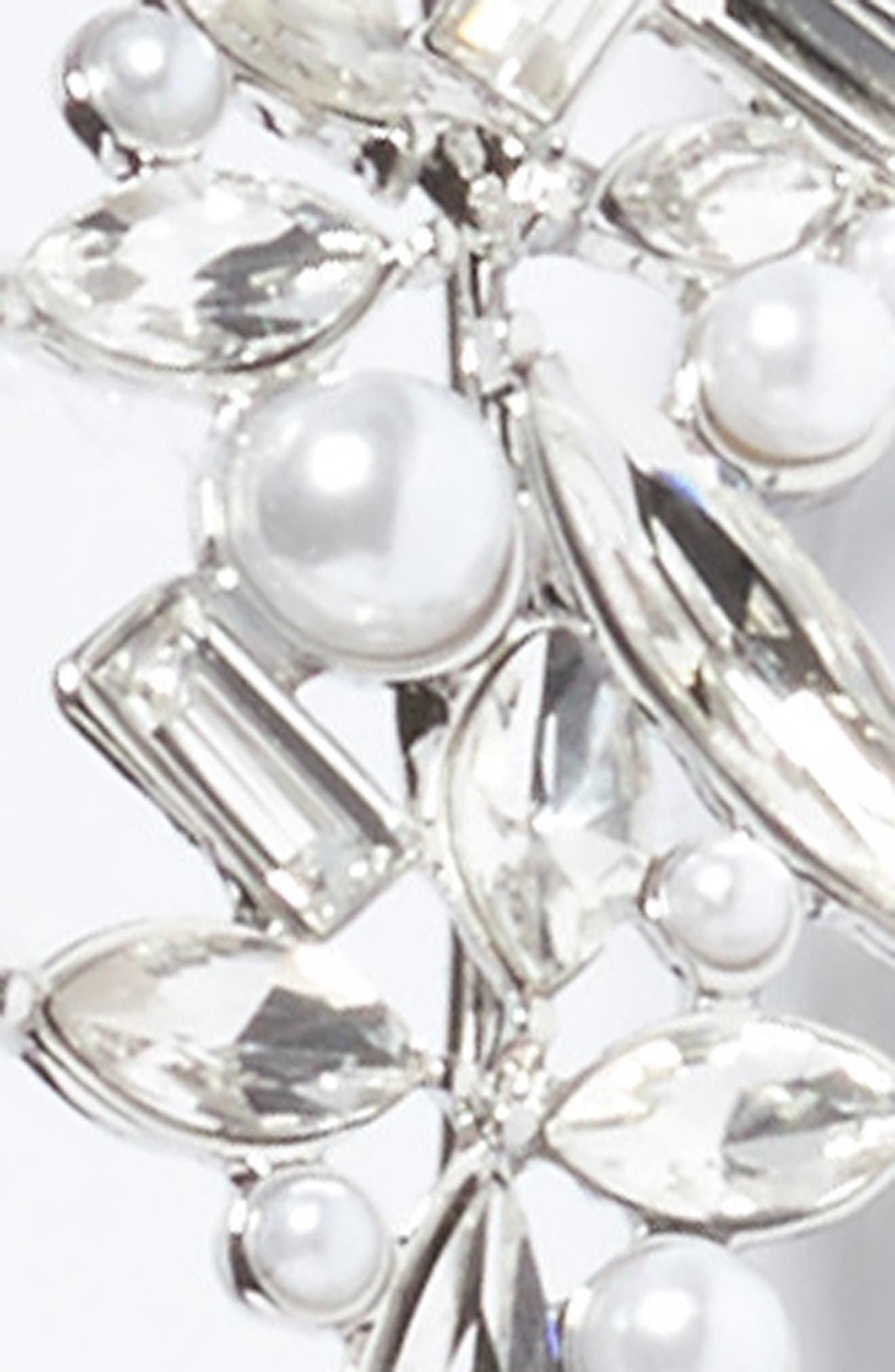Imitation Pearl Floral Headband,                             Alternate thumbnail 2, color,                             Silver