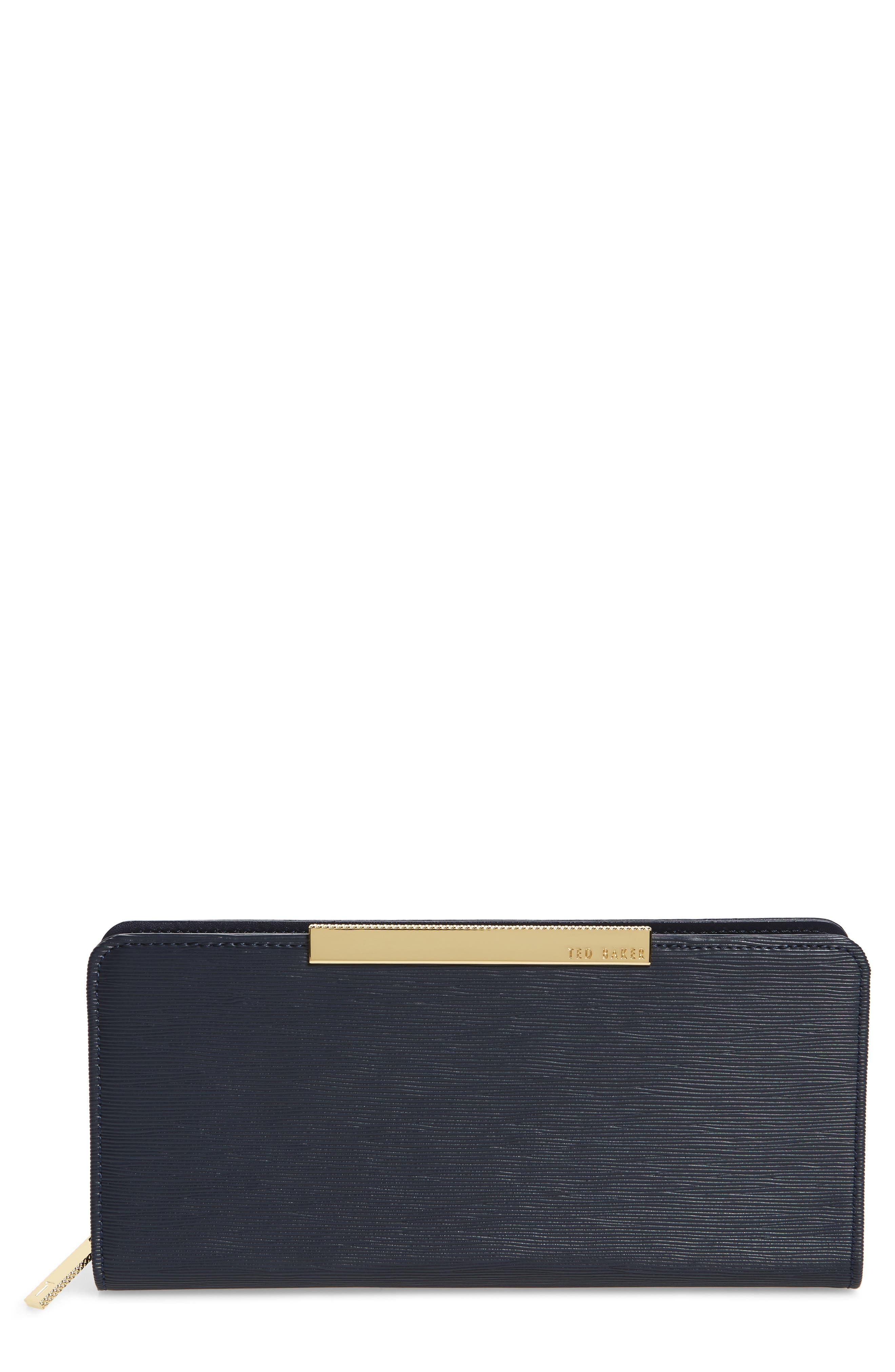 Marya Plissé Leather Matinee Wallet,                         Main,                         color, Dark Blue