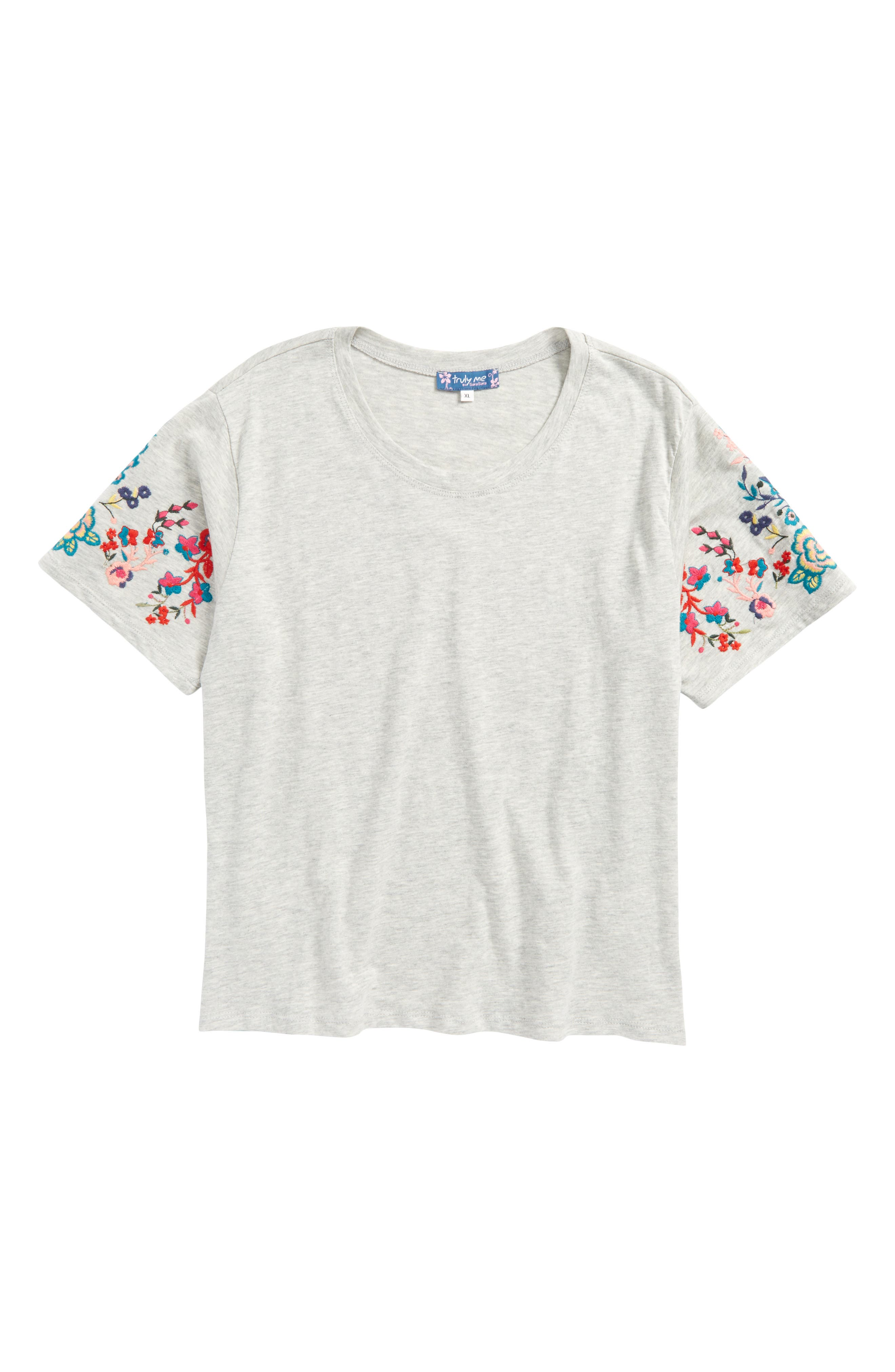 Main Image - Truly Me Embroidered Sleeve Top (Big Girls)