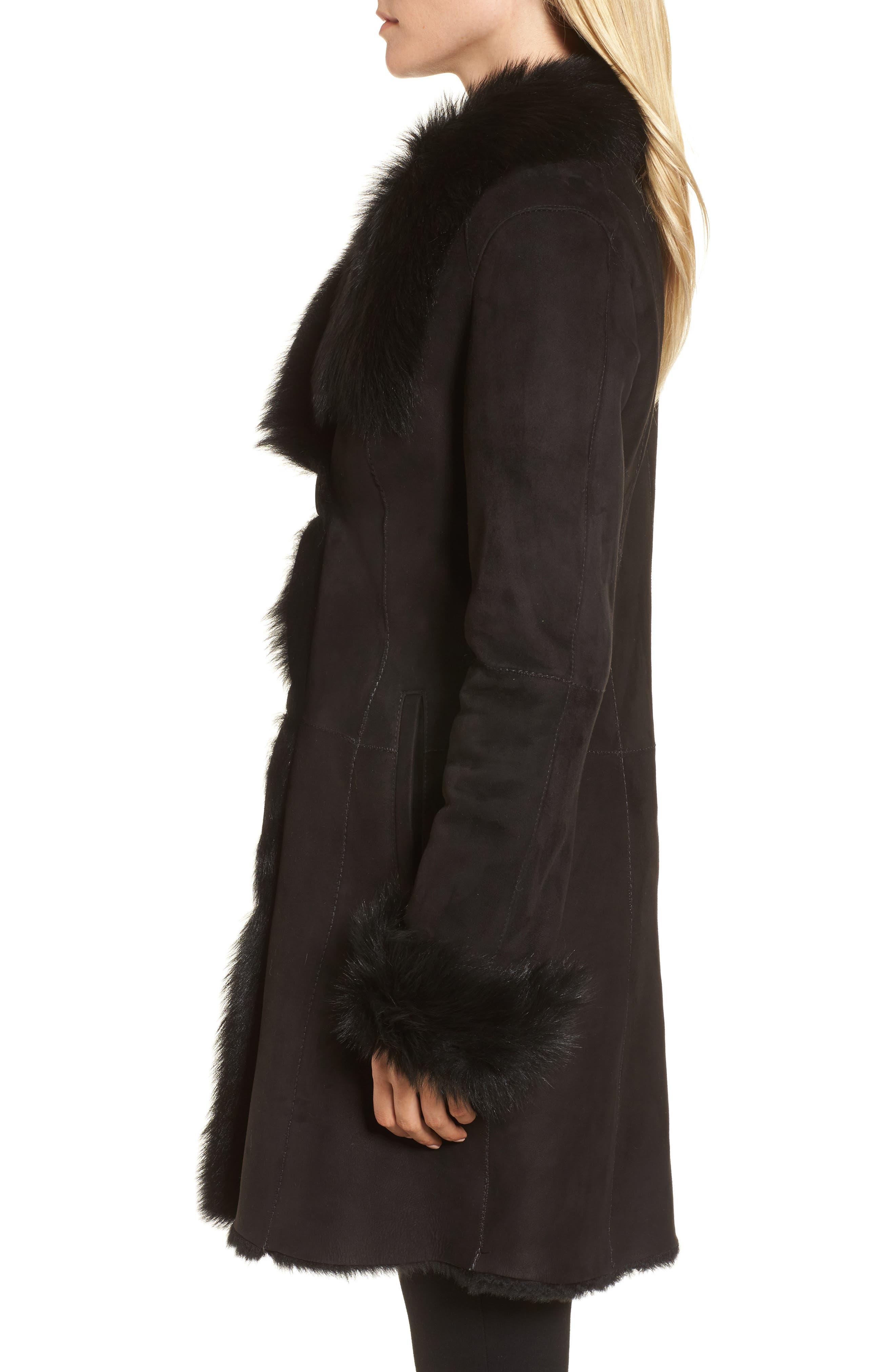 Genuine Shearling Coat,                             Alternate thumbnail 3, color,                             Black Brisa