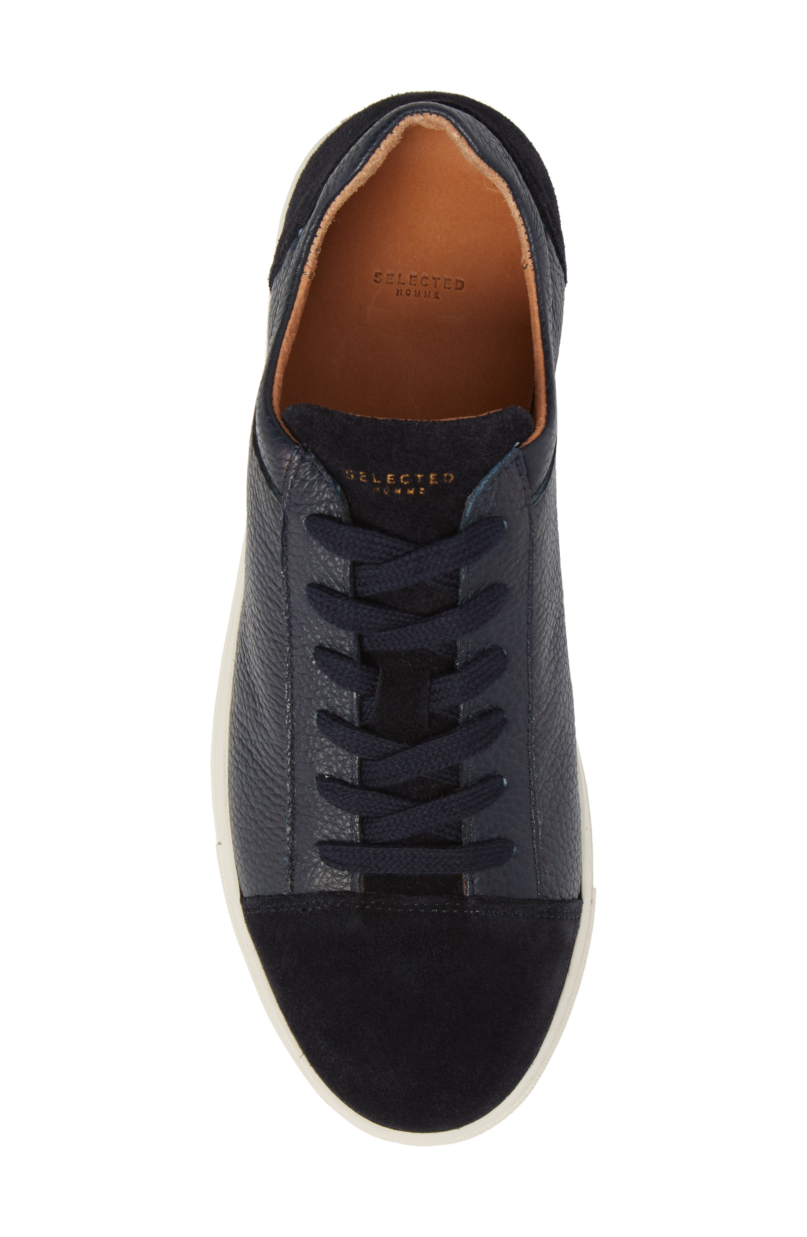 David Cap Toe Sneaker,                             Alternate thumbnail 5, color,                             Dark Navy Leather/ Suede