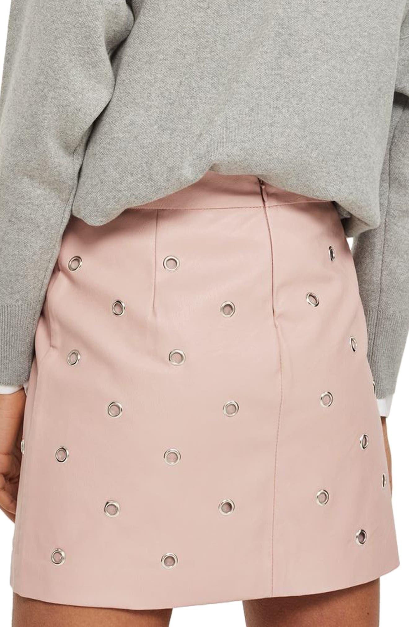Alternate Image 2  - Topshop Grommet Faux Leather Skirt
