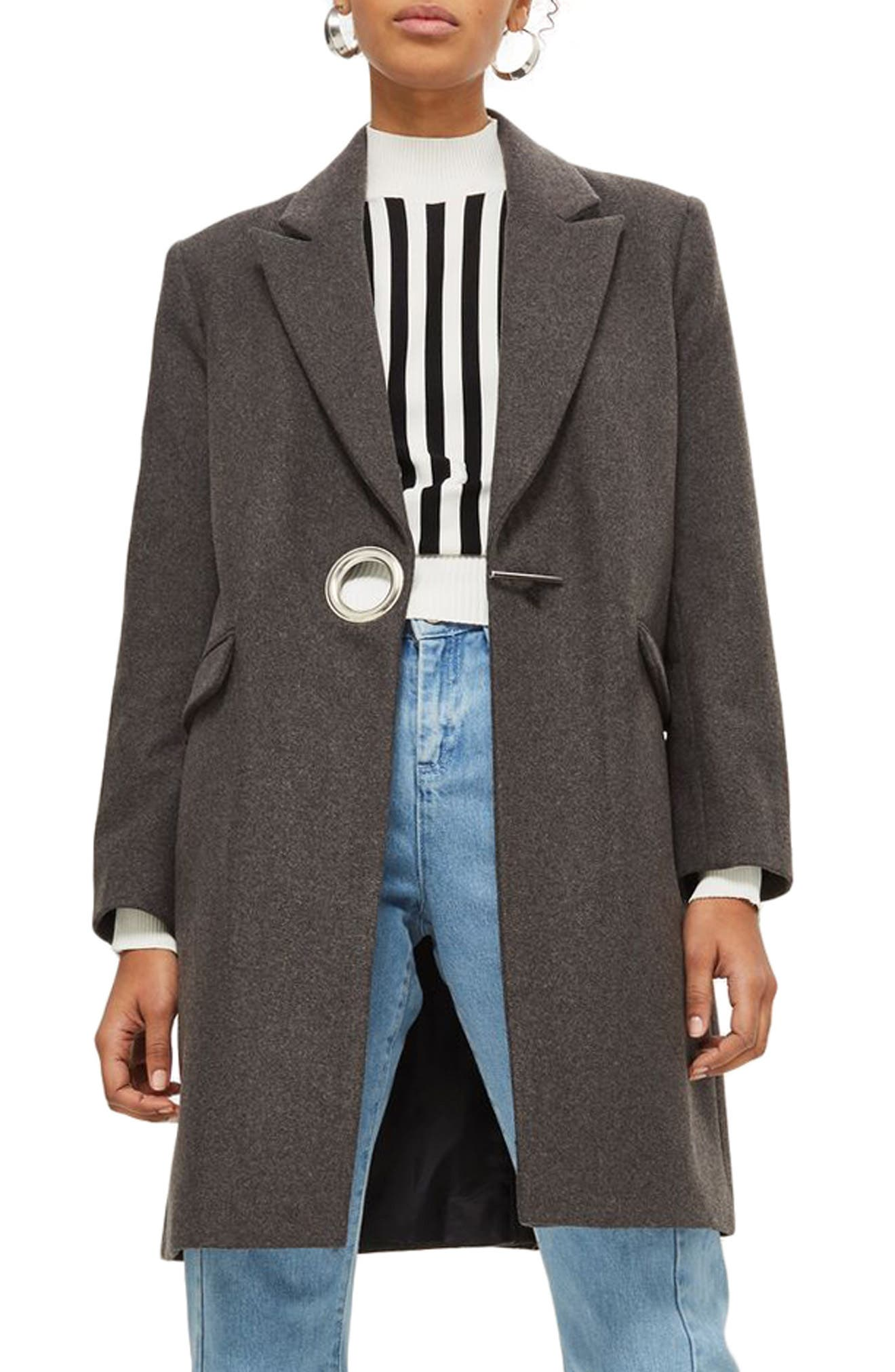Peak Lapel Coat,                         Main,                         color, Grey