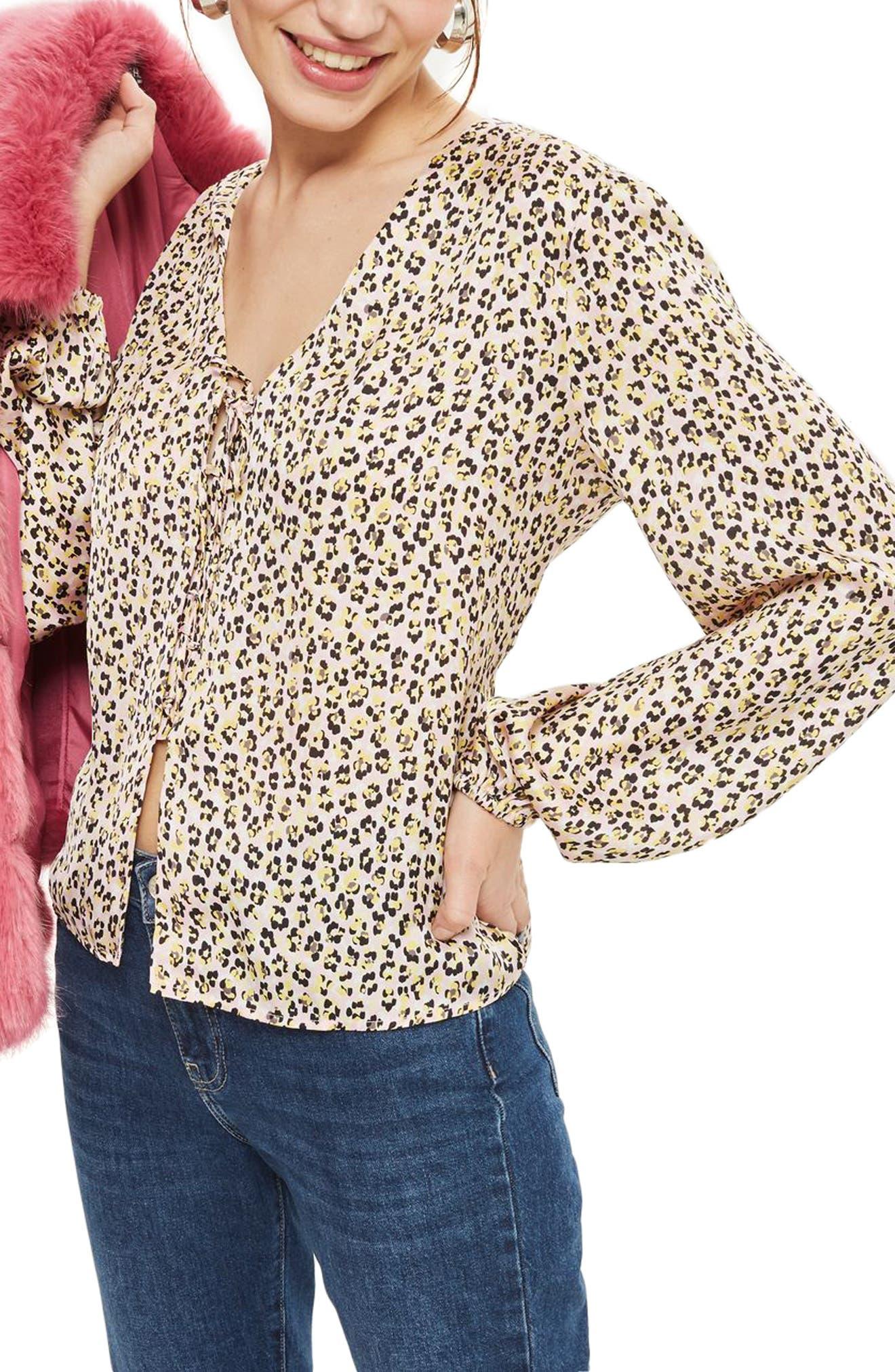 Leopard Print Tie Front Blouse,                         Main,                         color, Pink Multi