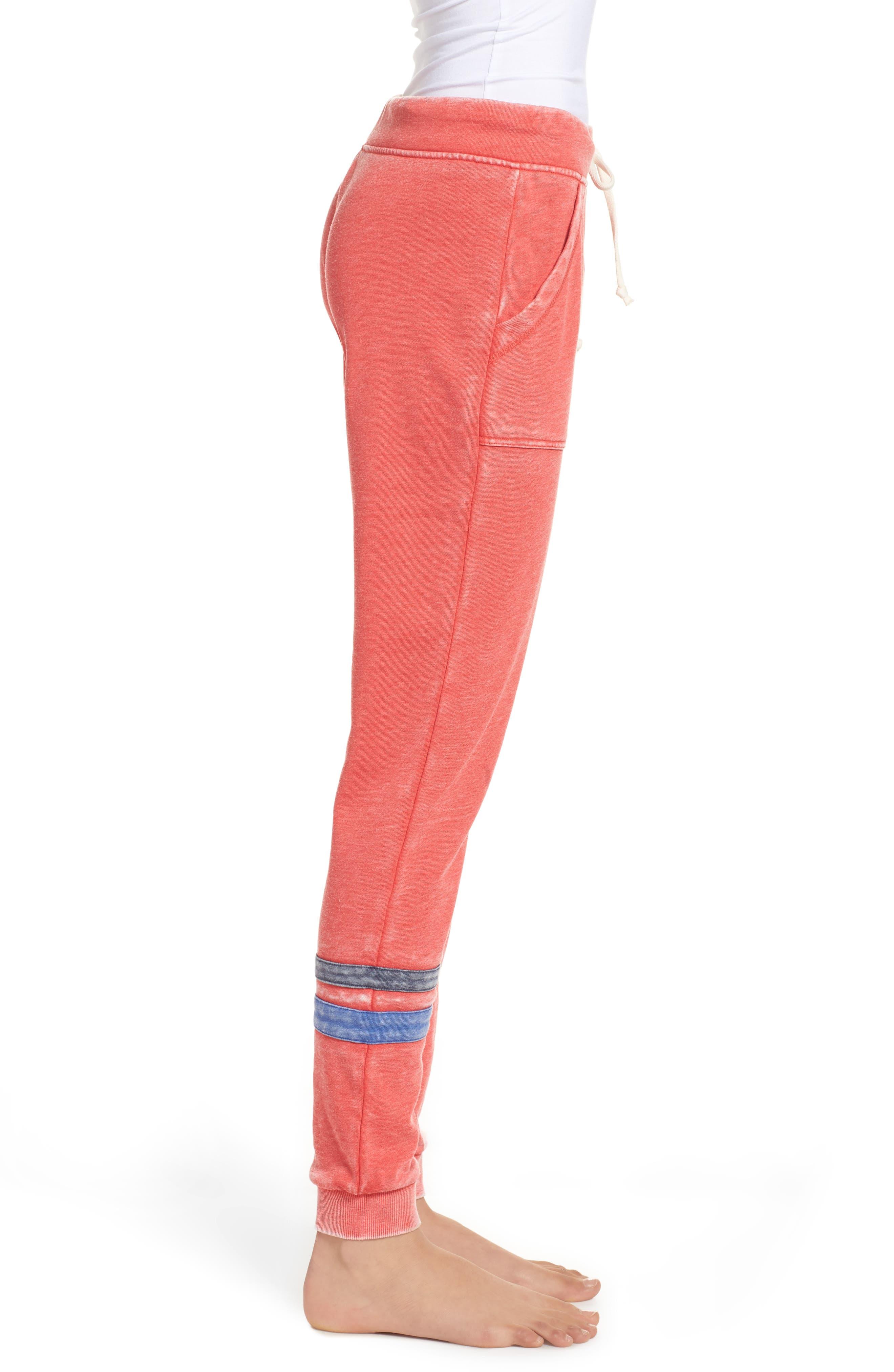 Long Weekend Lounge Jogger Pants,                             Alternate thumbnail 3, color,                             Red Bloom/ Dark Navy/ Blue