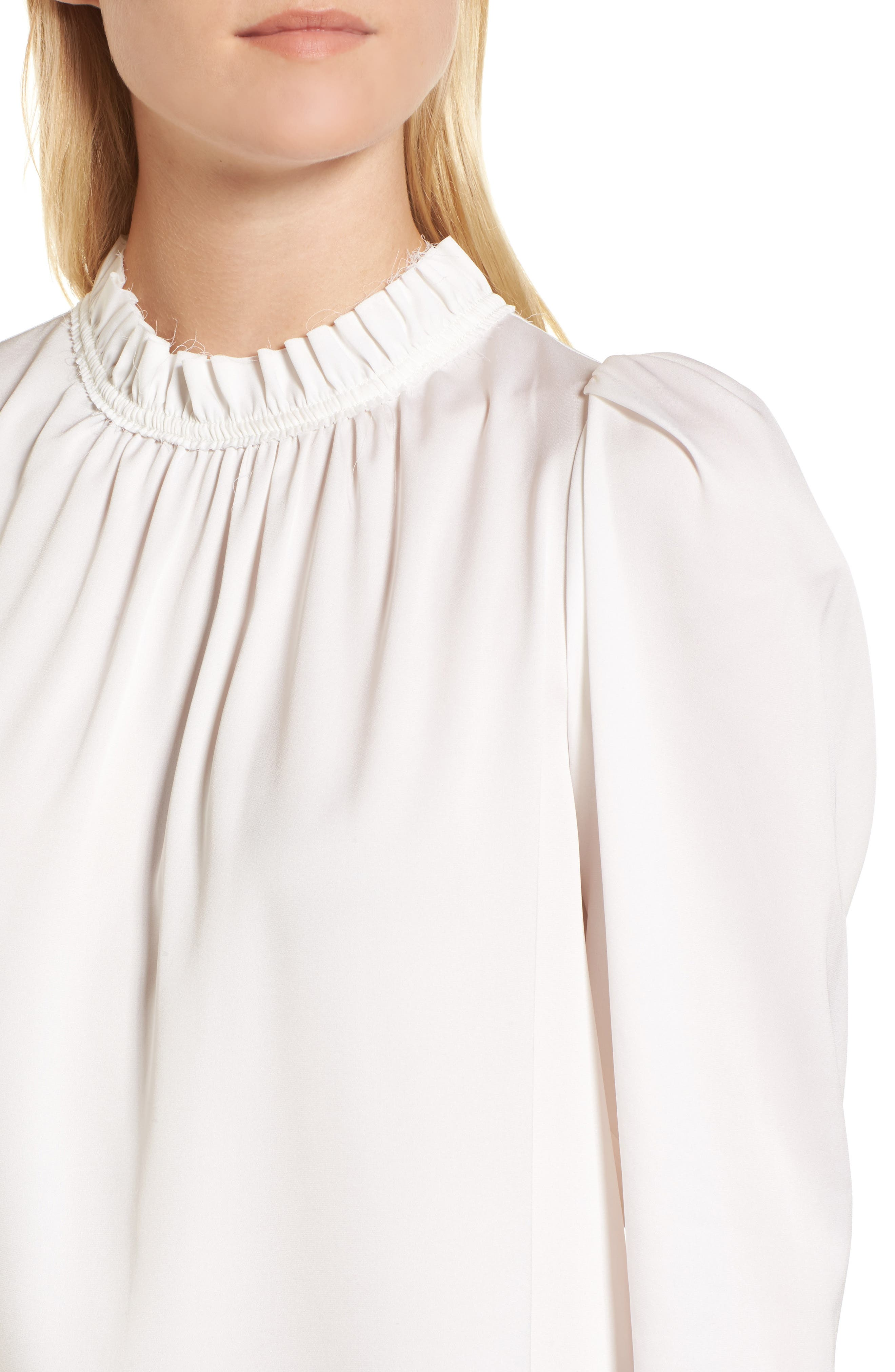 Ruffle Neck Stretch Silk Top,                             Alternate thumbnail 4, color,                             Ivory Cloud
