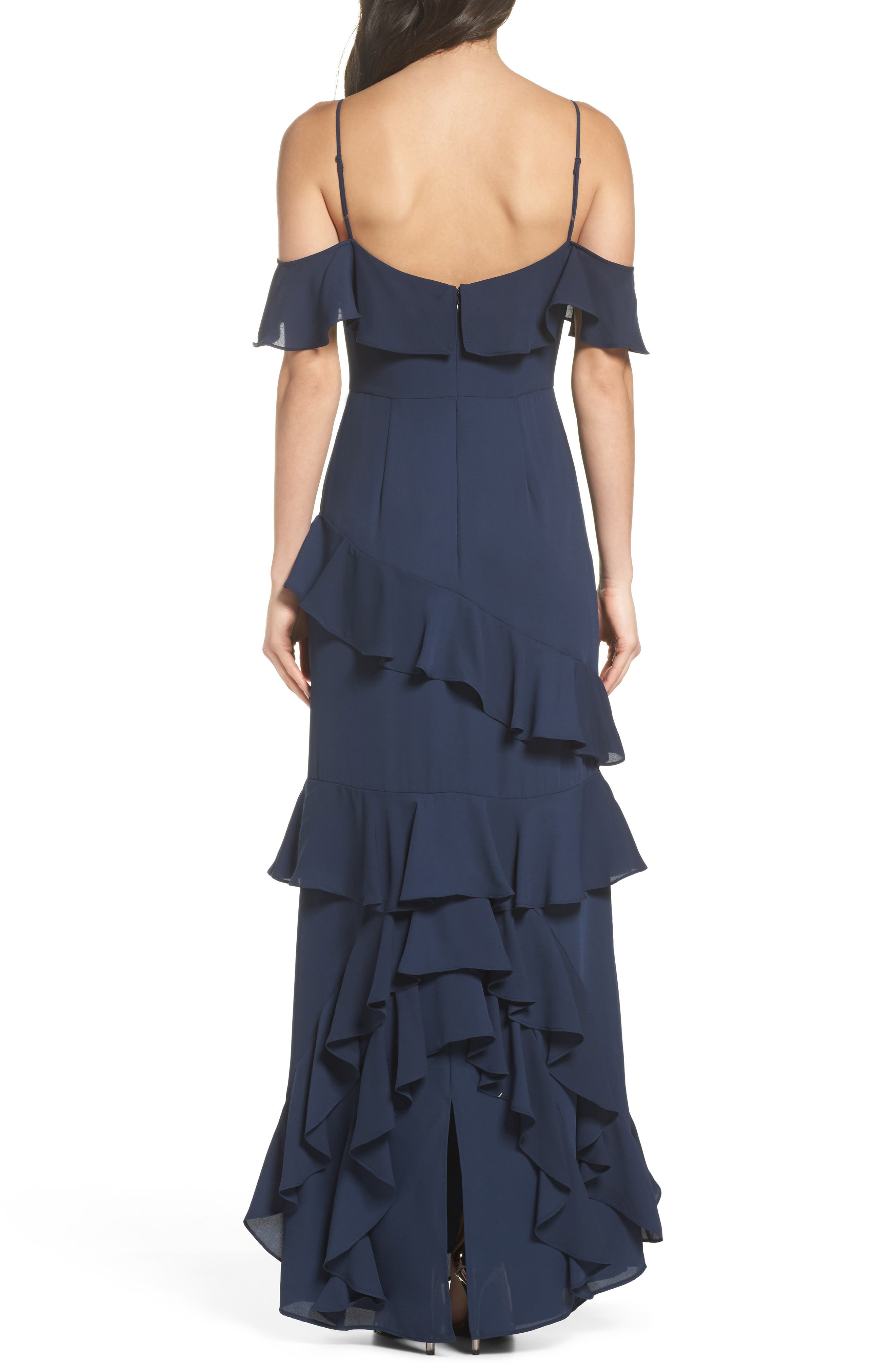 Danielle Off the Shoulder Tiered Crepe Dress,                             Alternate thumbnail 2, color,                             Navy