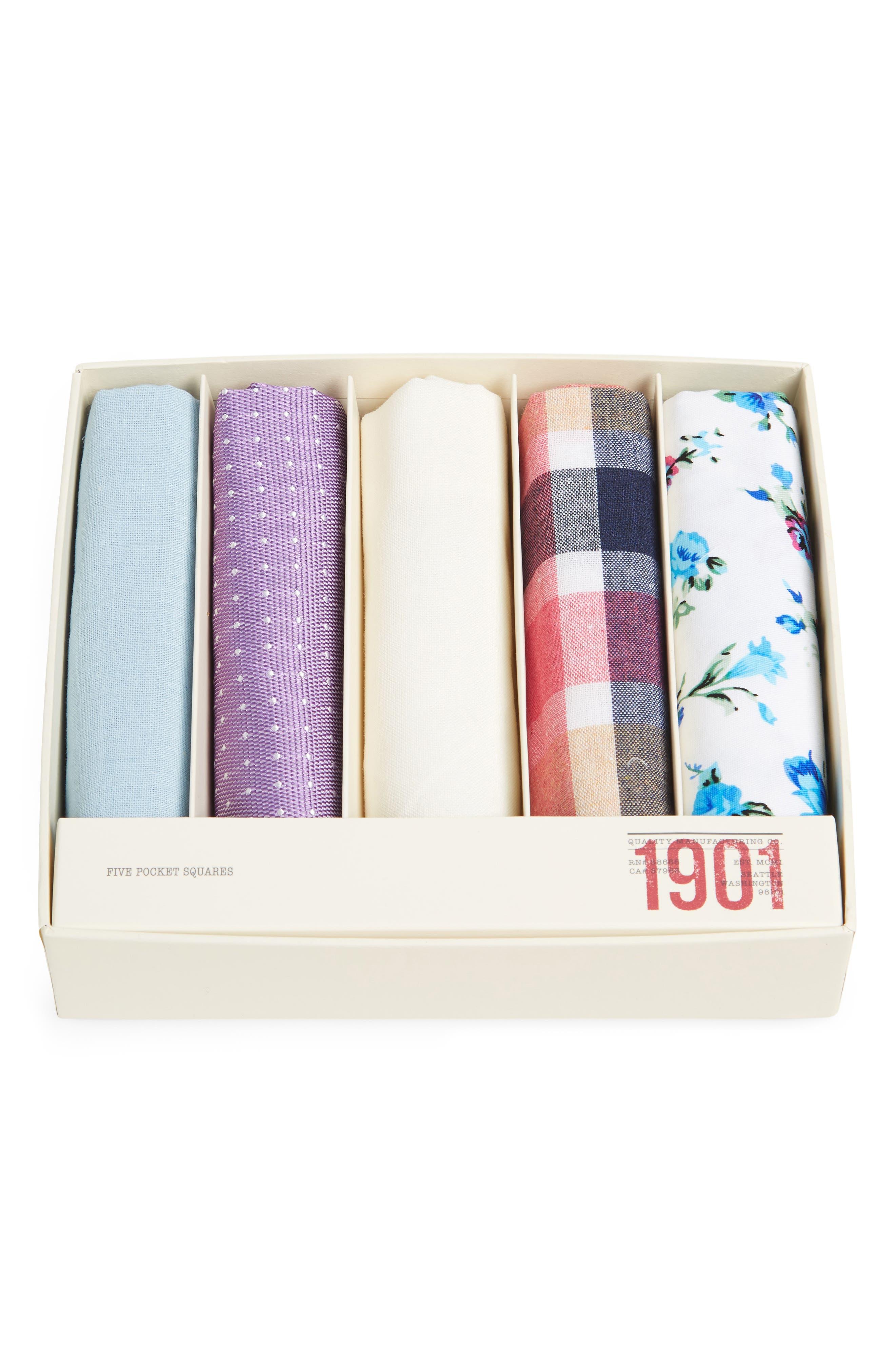 5-Pack Cotton Pocket Squares,                             Alternate thumbnail 3, color,                             Purple