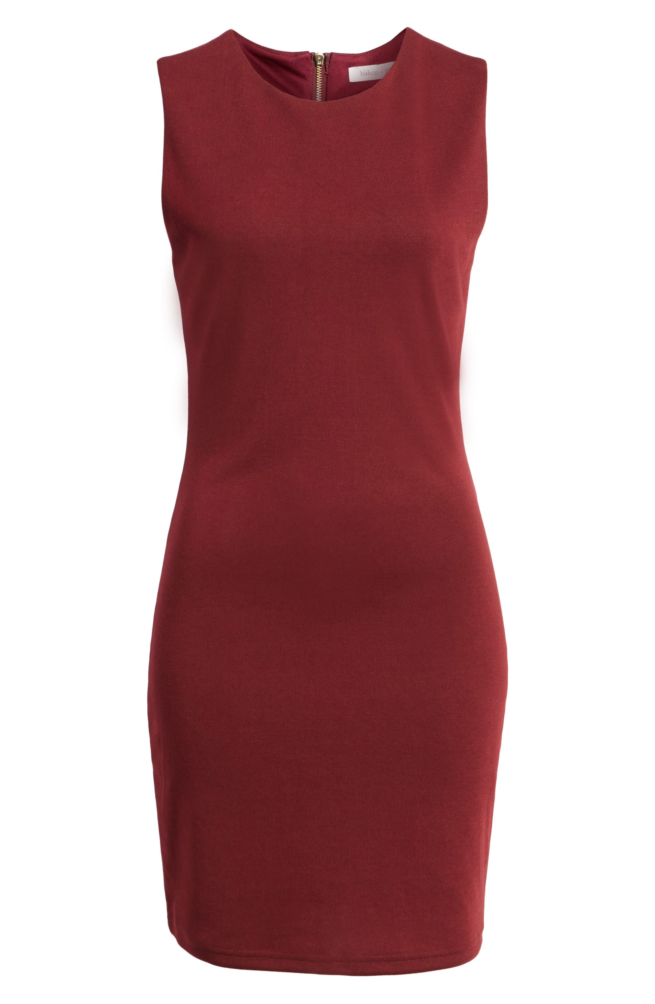 Bishop + Young Ponte Knit Sheath Dress,                             Alternate thumbnail 6, color,                             Burgundy