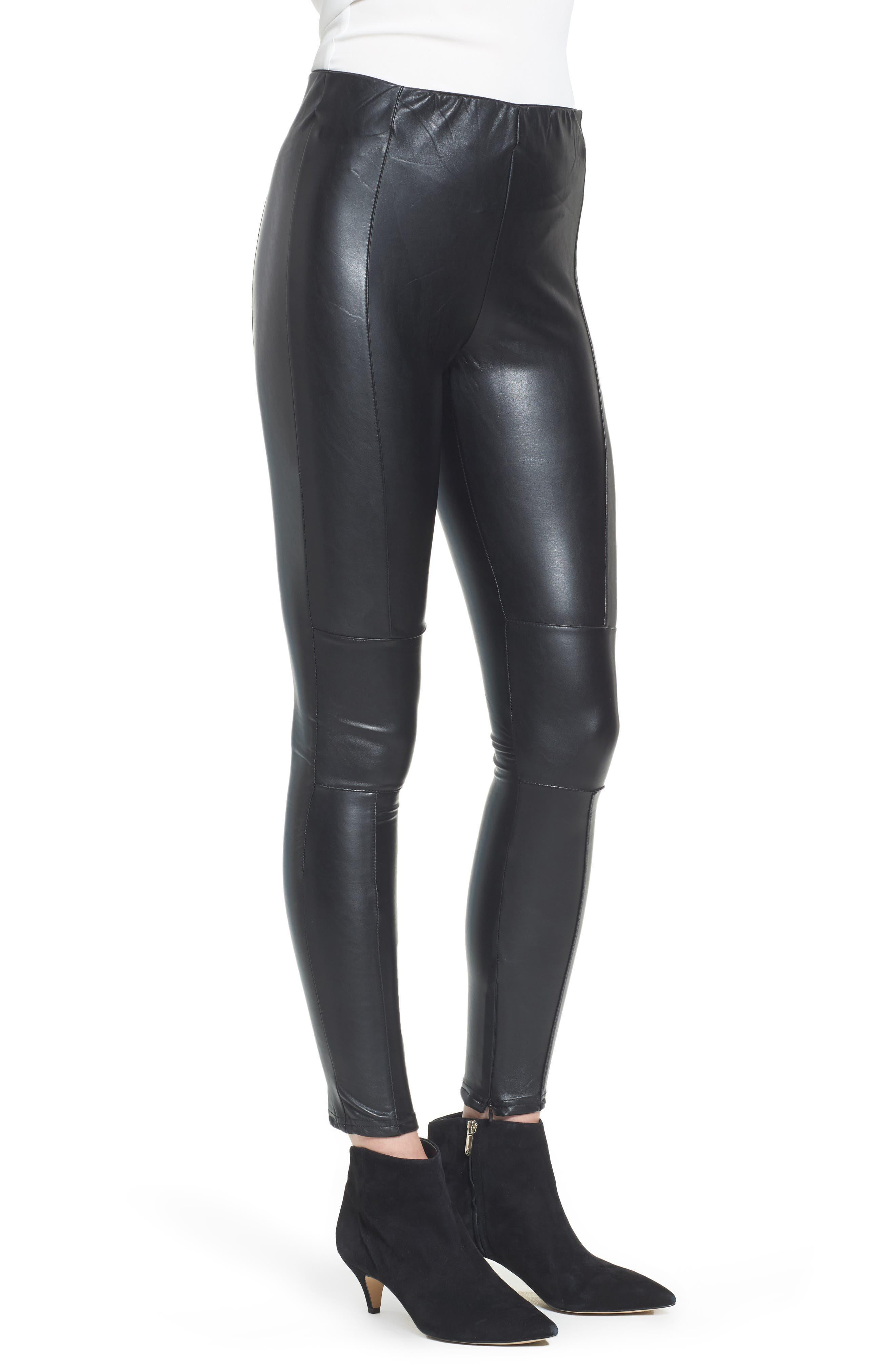 Bishop + Young Faux Leather Ankle Leggings,                             Alternate thumbnail 3, color,                             Black