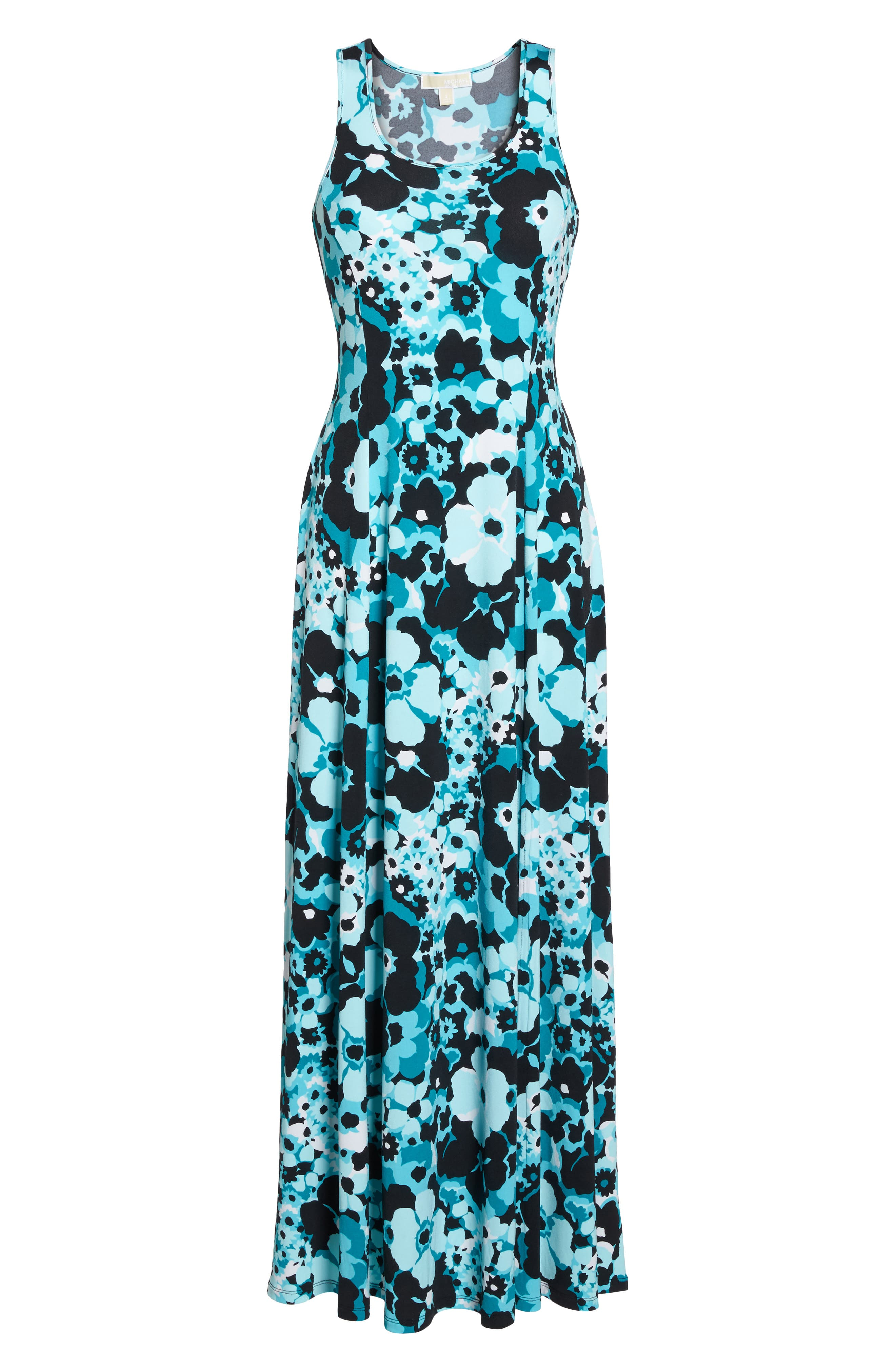 Spring Floral Maxi Dress,                             Alternate thumbnail 6, color,                             Tile Blue/ Black Multi