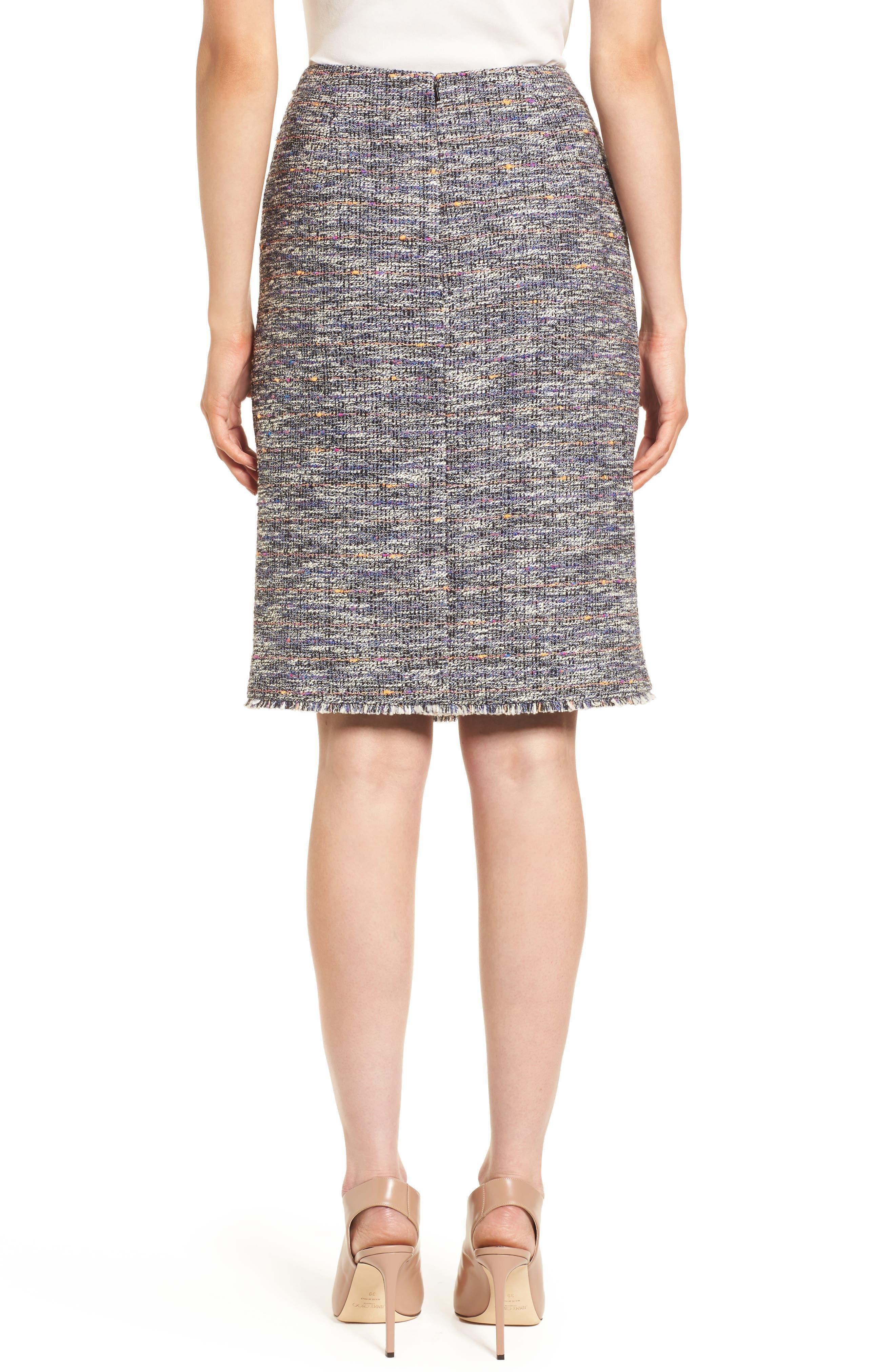 Tie Detail Pencil Skirt,                             Alternate thumbnail 2, color,                             Black Multi Tweed