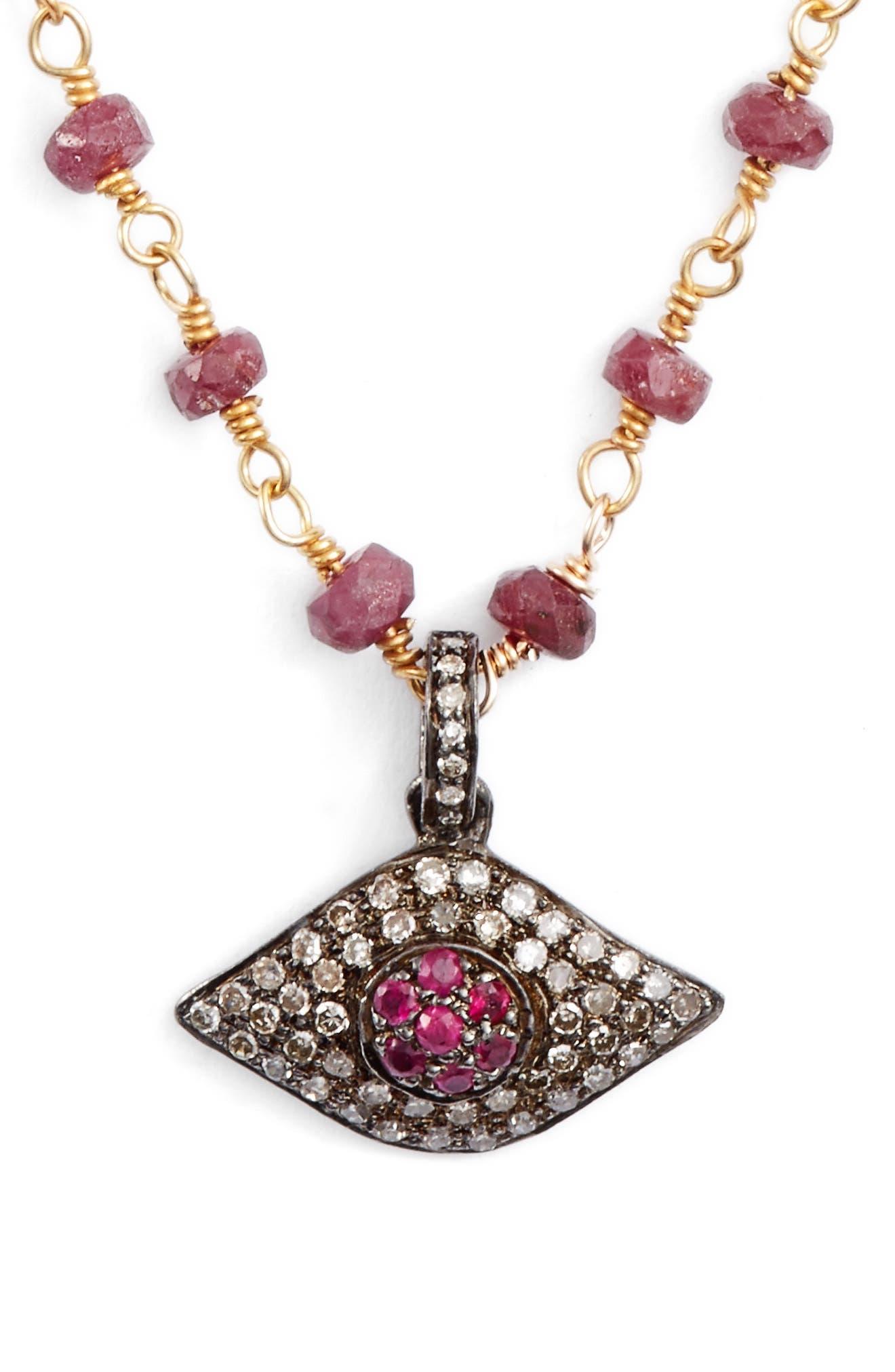 ela rae Phoebe Diamond Evil Eye Pendant Necklace