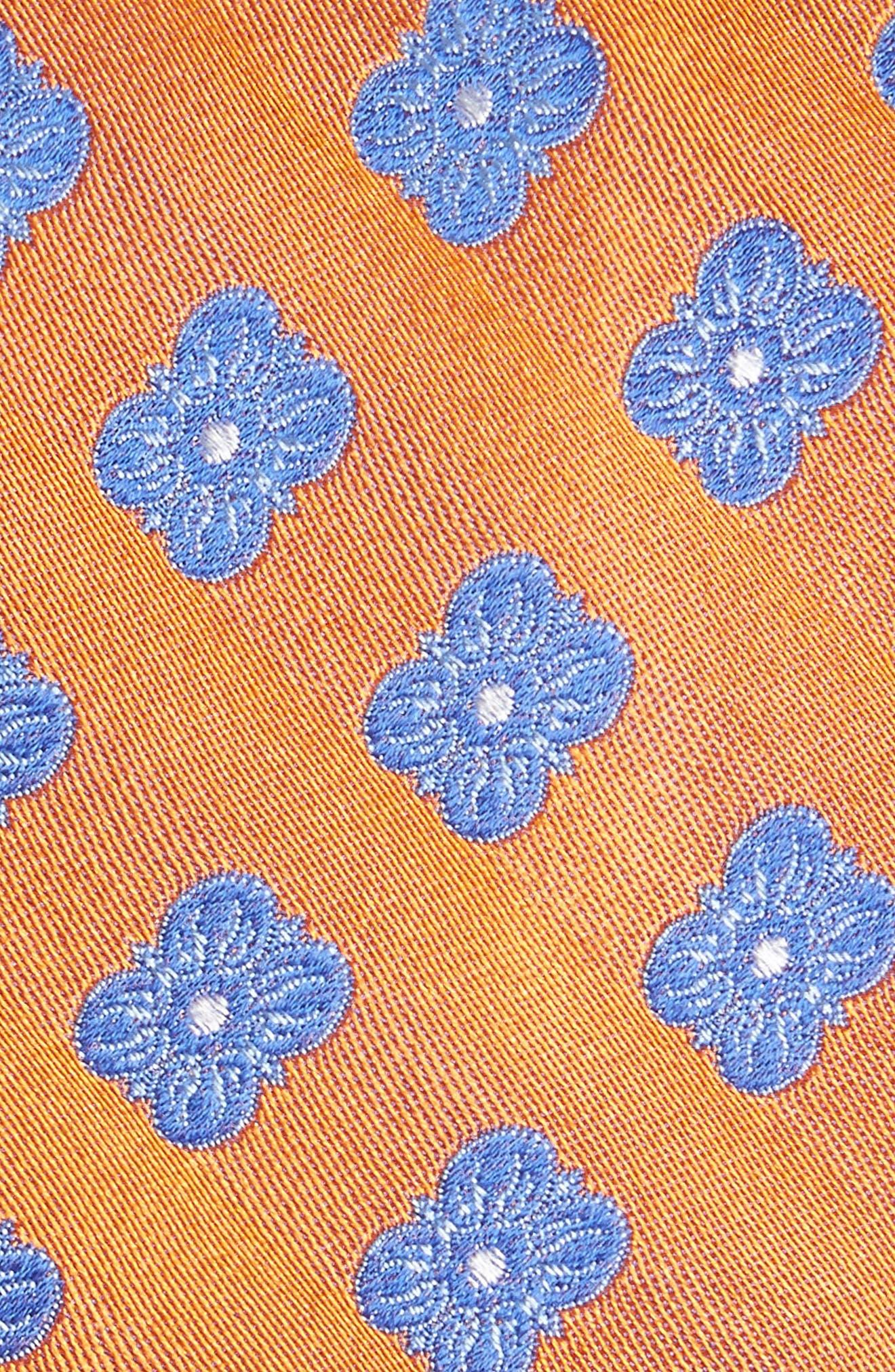 Cameron Floral Medallion Silk Tie,                             Alternate thumbnail 2, color,                             Orange