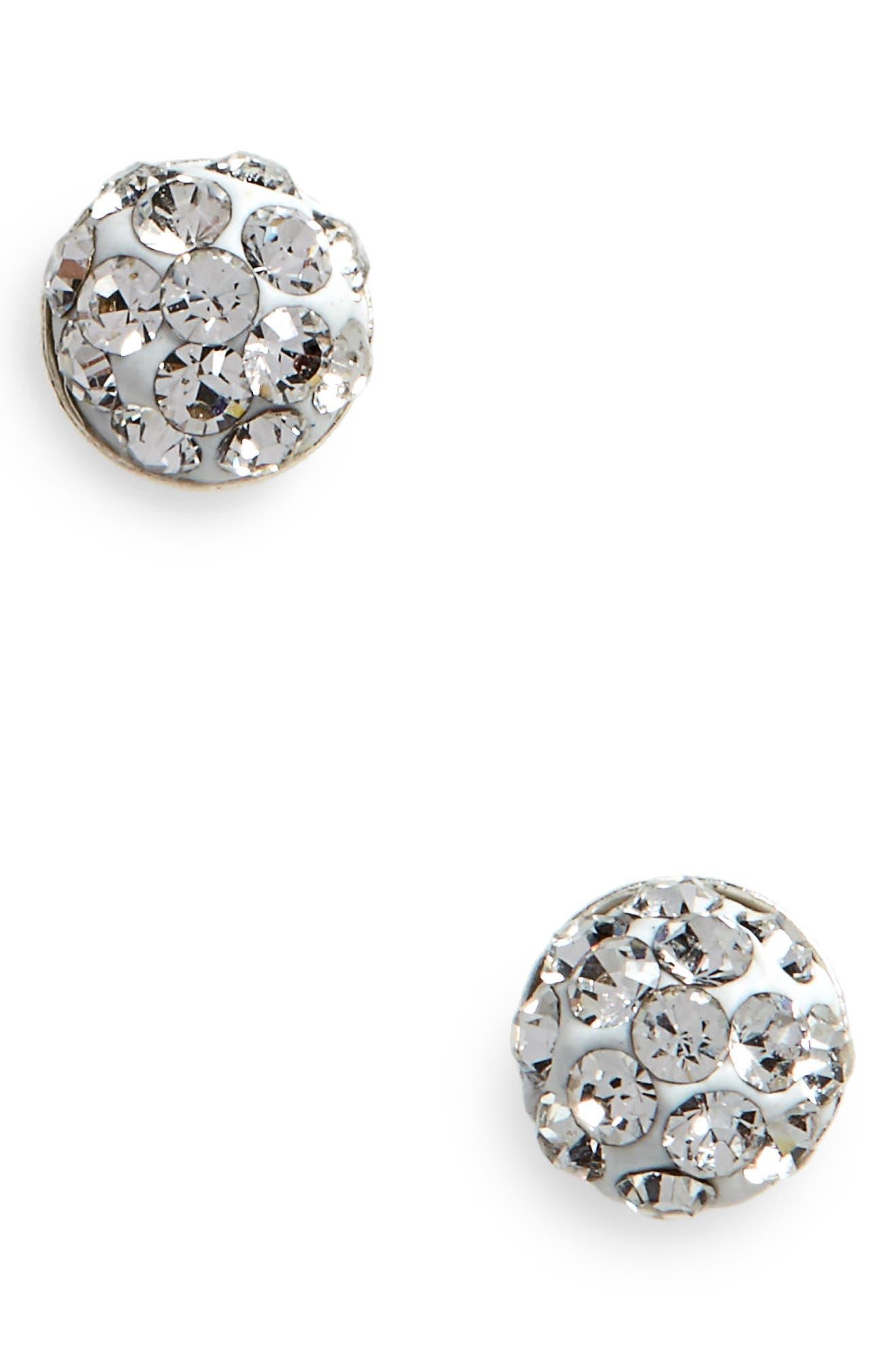 Crystal & Sterling Silver Stud Earrings,                         Main,                         color, Silver