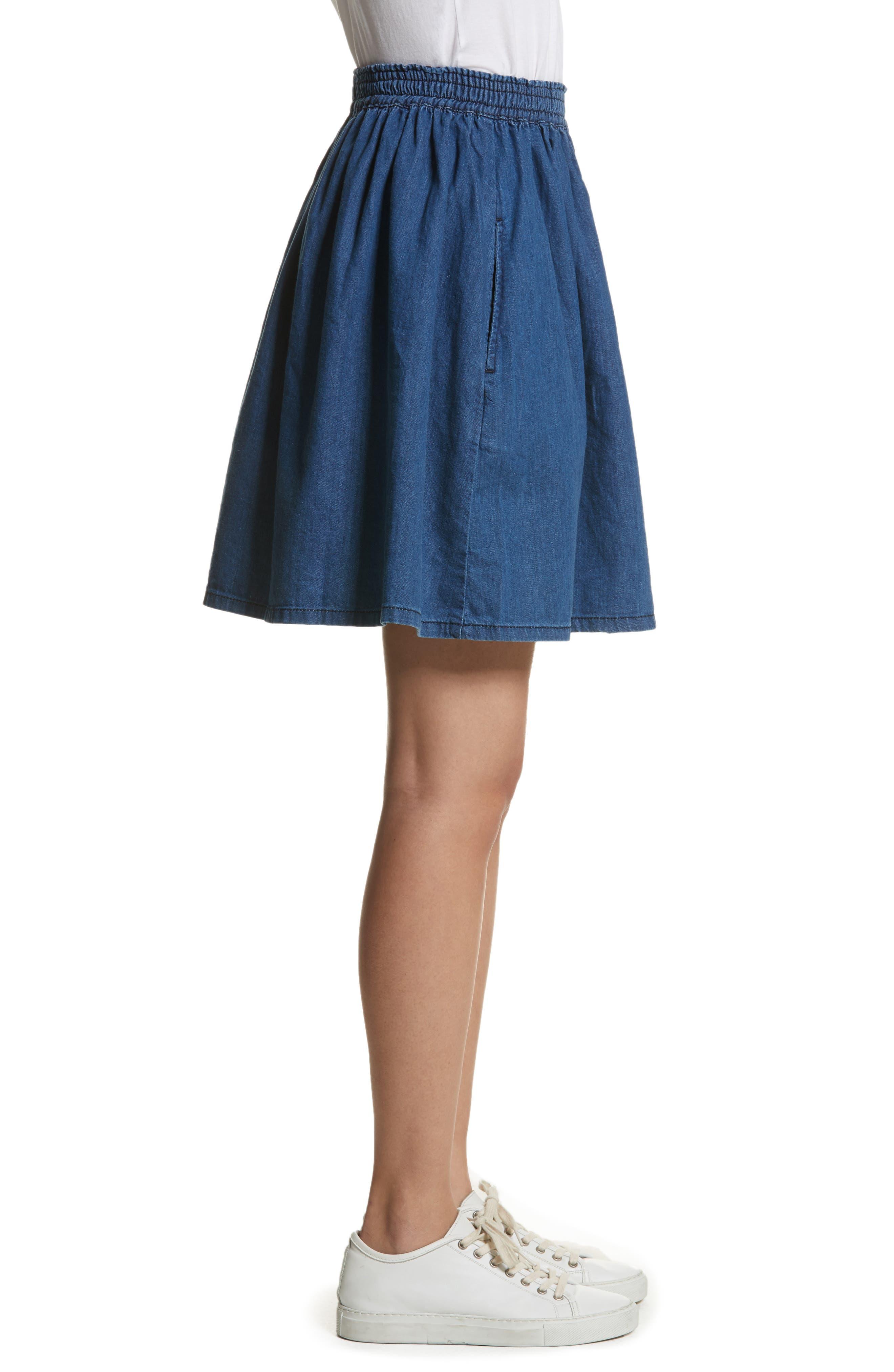 The Great Court Denim Skirt,                             Alternate thumbnail 3, color,                             Vibrant Blue Wash