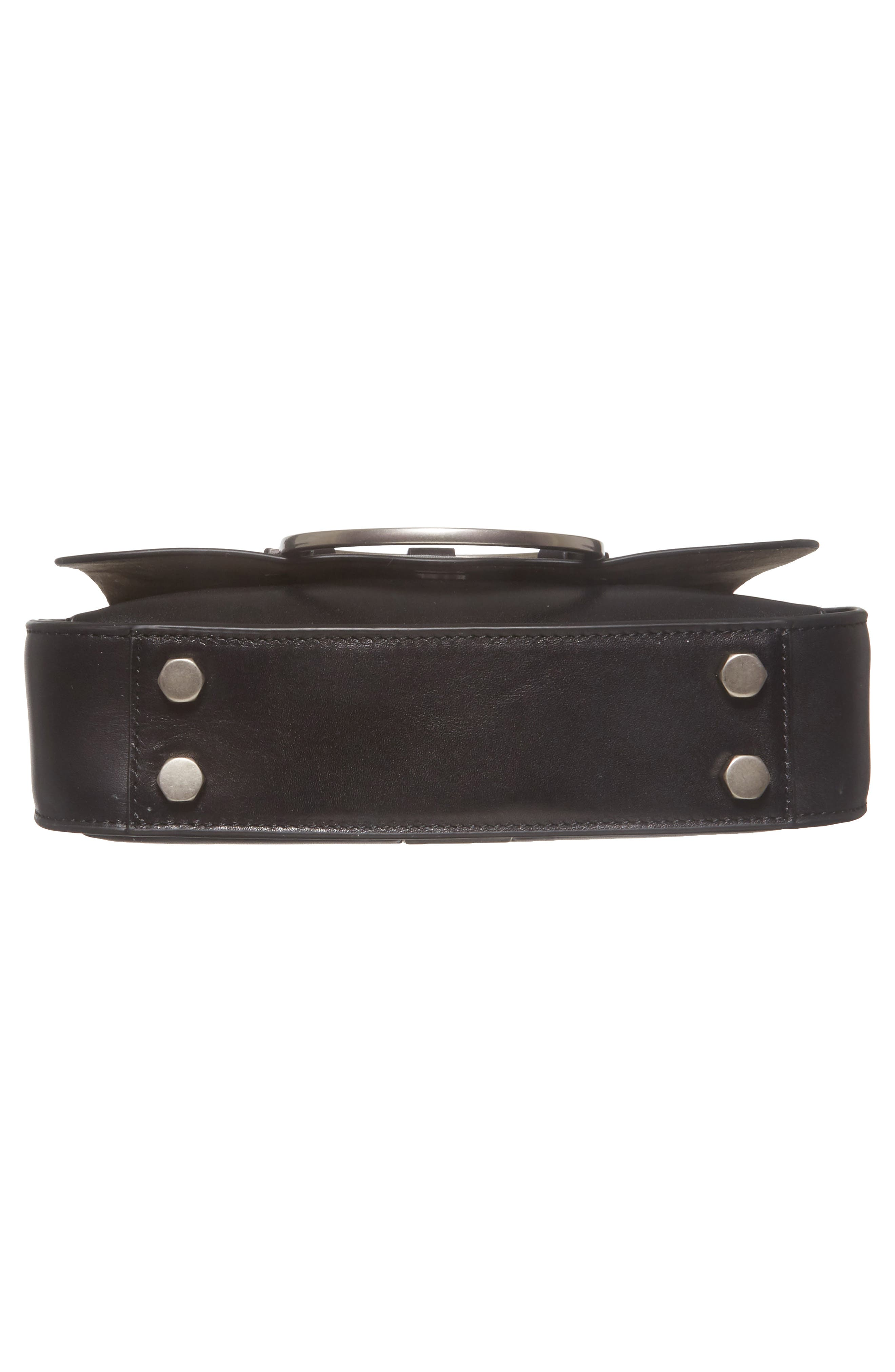 Ring Leather Shoulder Bag,                             Alternate thumbnail 6, color,                             Black