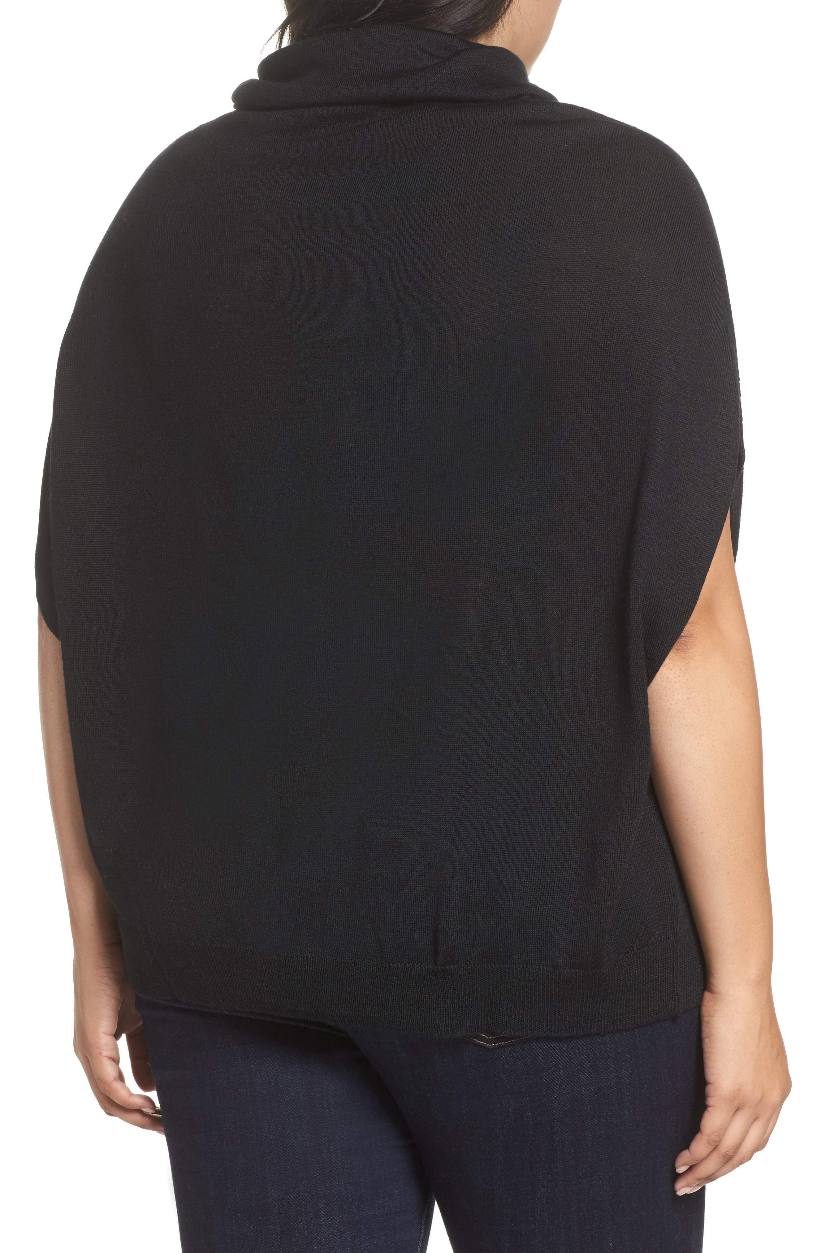 Merino Wool Blend Turtleneck Sweater,                             Alternate thumbnail 2, color,                             Black