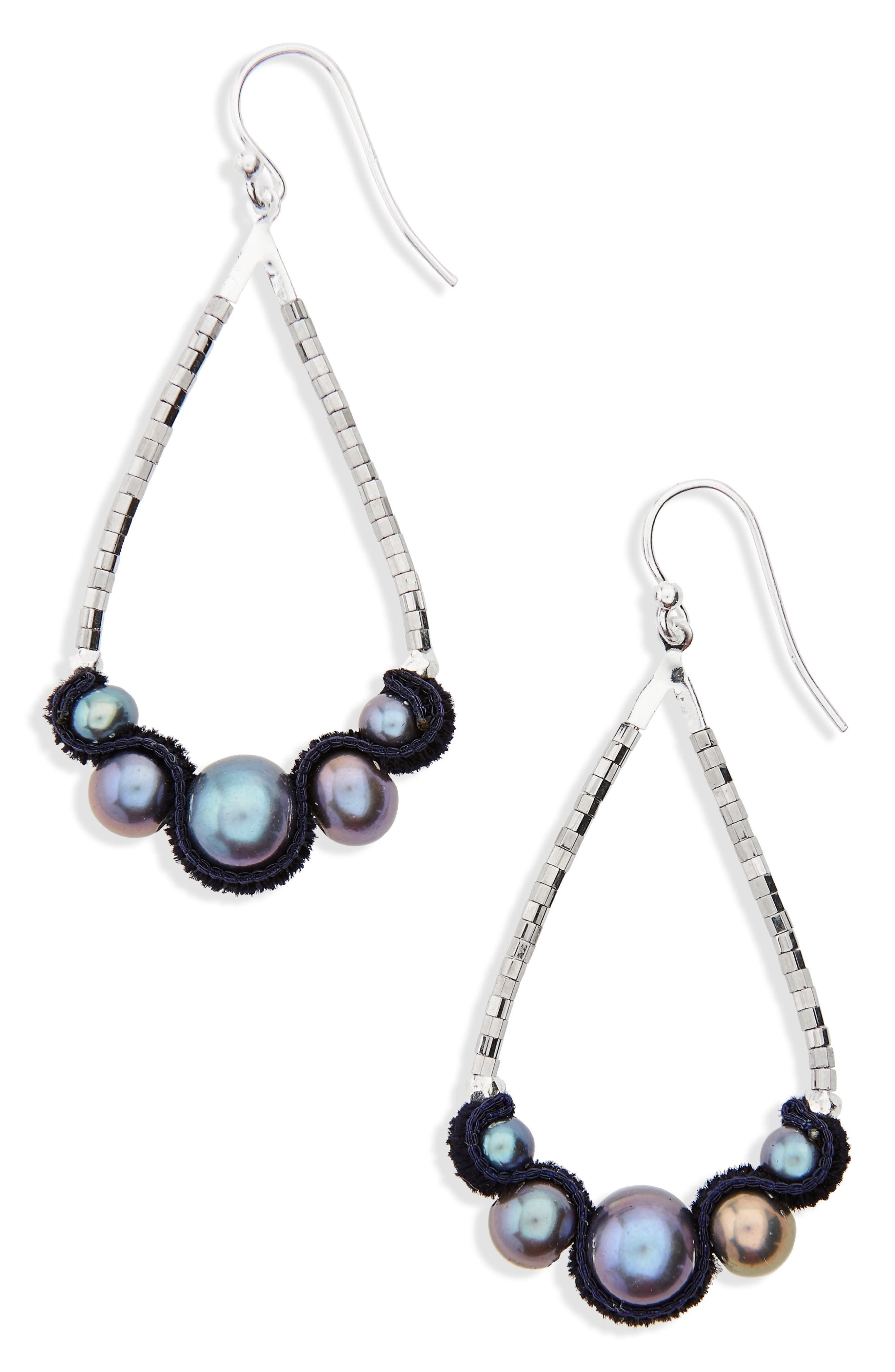 Velvet & Pearl Drop Earrings,                             Main thumbnail 1, color,                             Peacock Blue Pearl