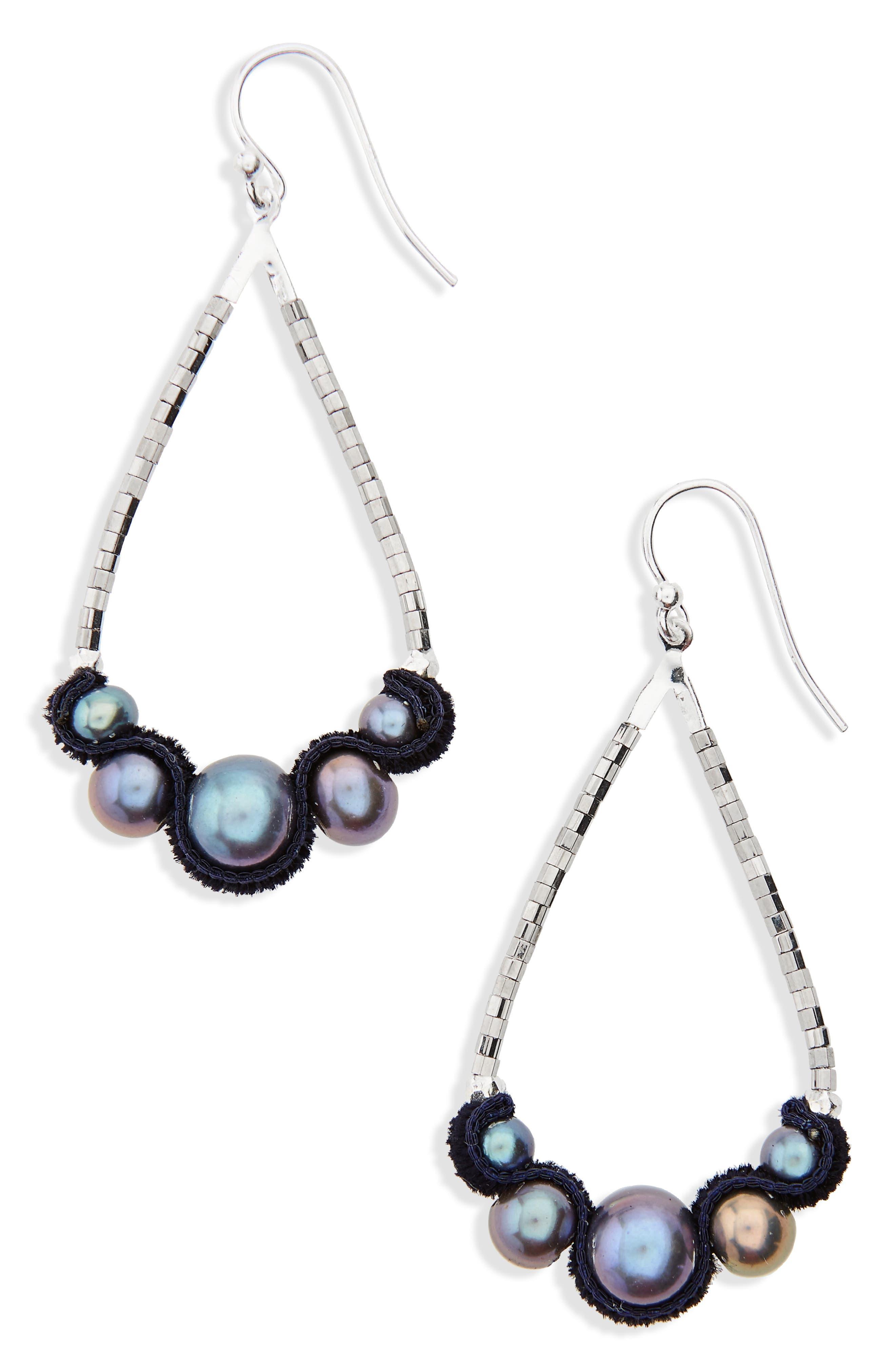 Velvet & Pearl Drop Earrings,                         Main,                         color, Peacock Blue Pearl