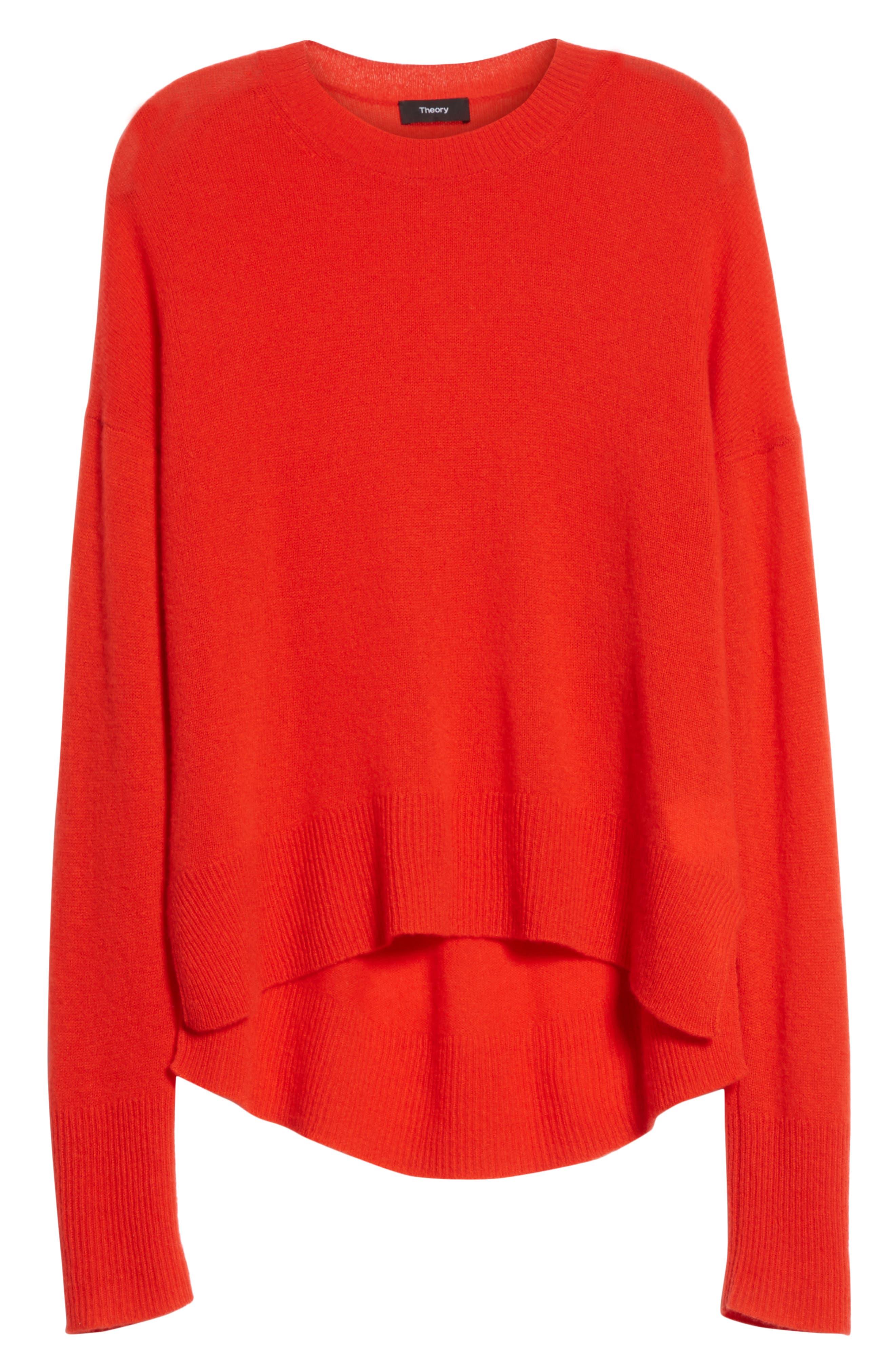 Karenia L Cashmere Sweater,                             Alternate thumbnail 6, color,                             Bight Tomato