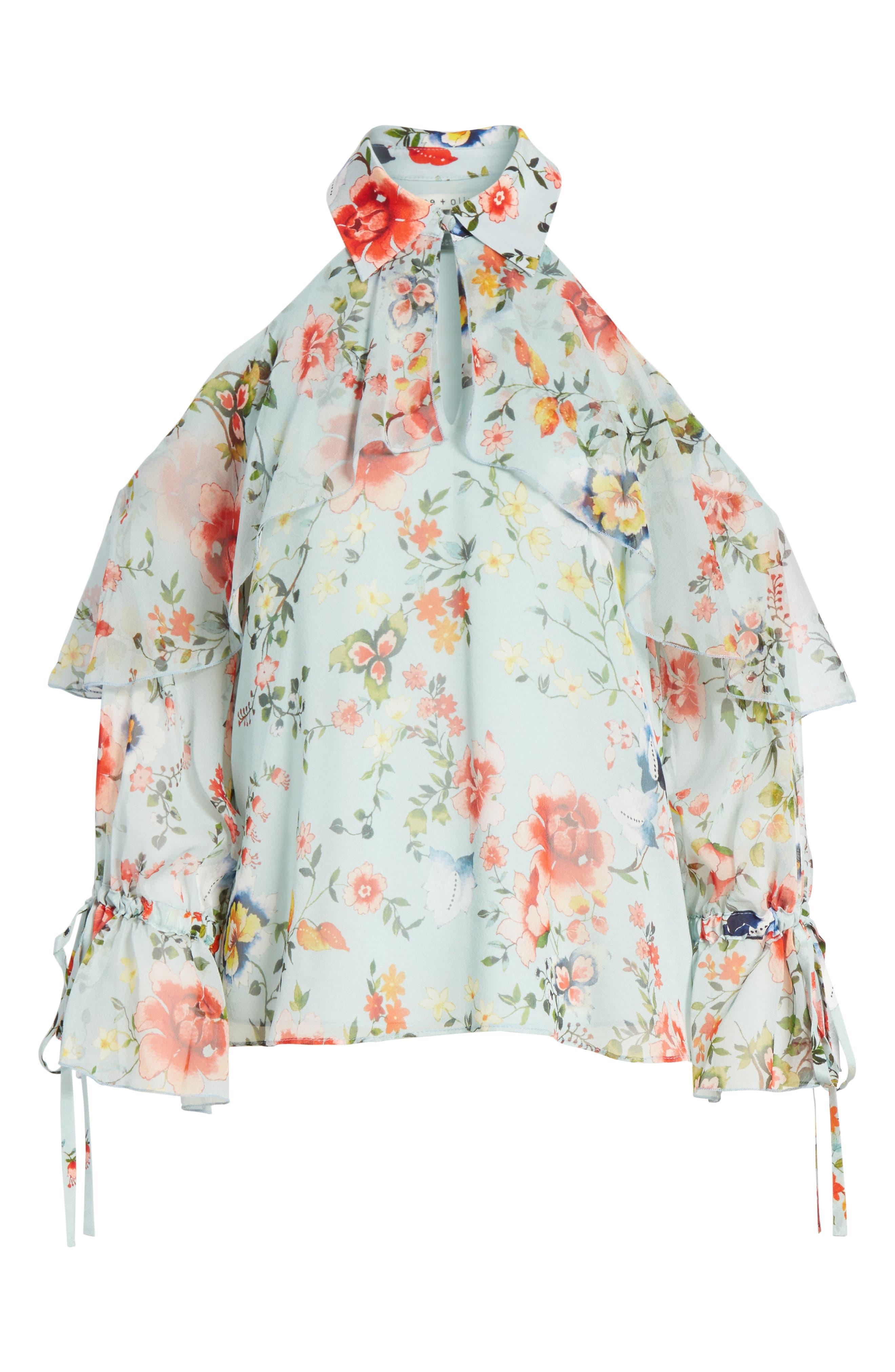 Blayne Cold Shoulder Floral Silk Blouse,                             Alternate thumbnail 7, color,                             Floral Soiree-Dusty Aqua