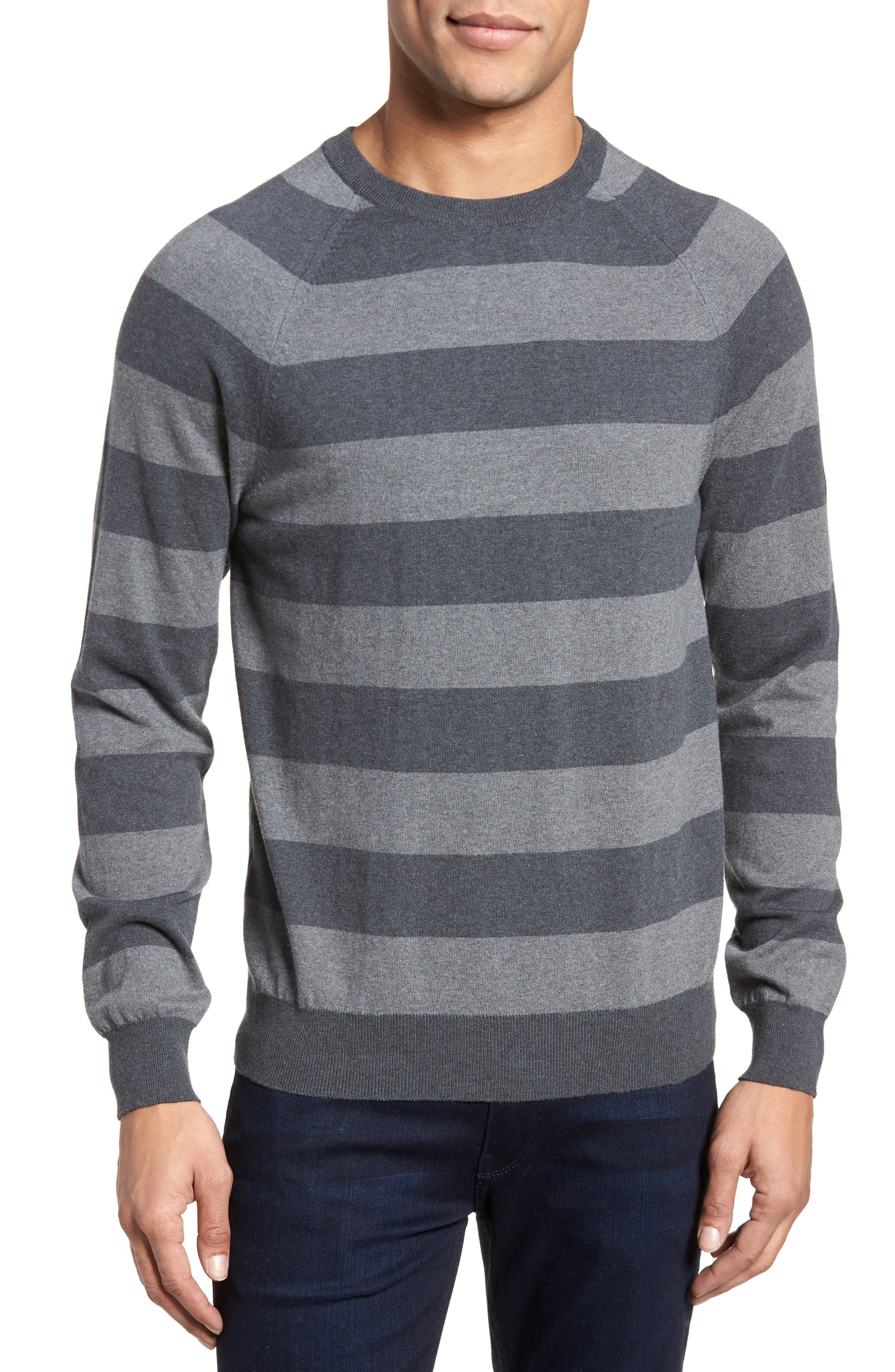Stripe Stretch Cotton Sweater,                             Main thumbnail 1, color,                             Mid Grey/ Charcoal Melange