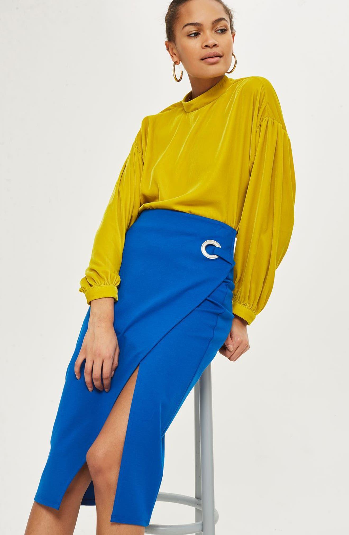 Eyelet Detail Wrap Jersey Skirt,                             Alternate thumbnail 2, color,                             Cobalt