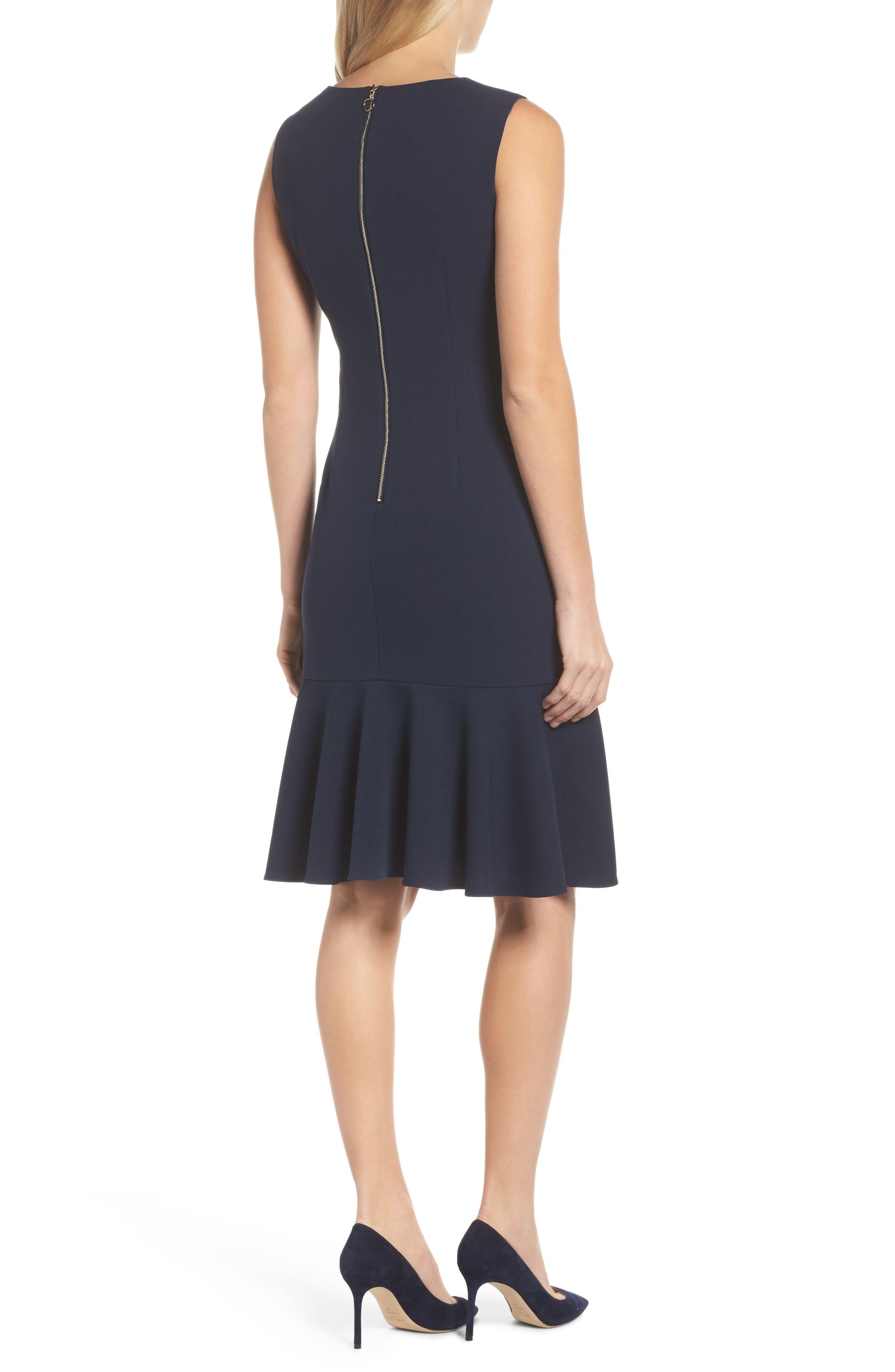 Knit Crepe Sheath Dress,                             Alternate thumbnail 2, color,                             Blue Moon