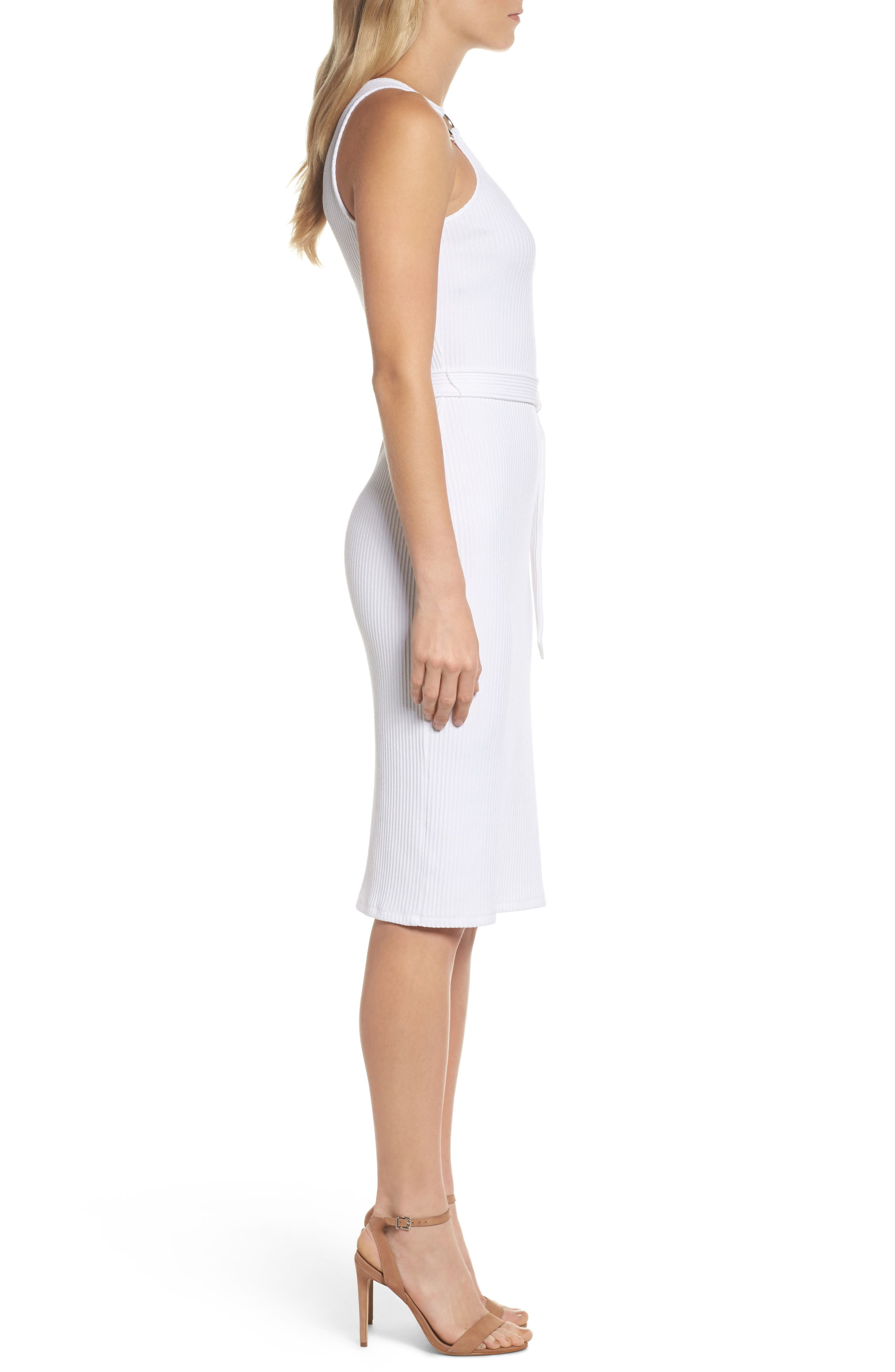 Belted Rib Knit Dress,                             Alternate thumbnail 3, color,                             White