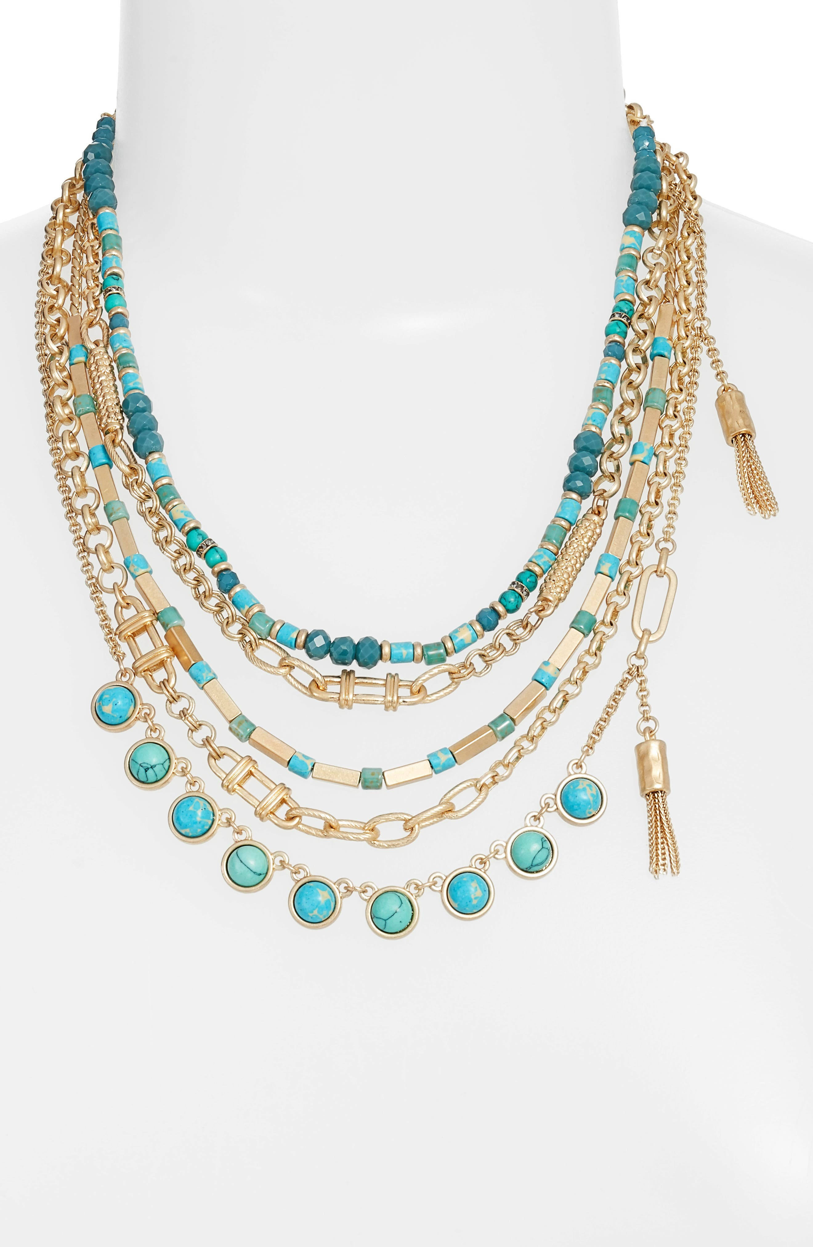 Five-Layer Stone Necklace,                             Main thumbnail 1, color,                             Turquoise- Gold