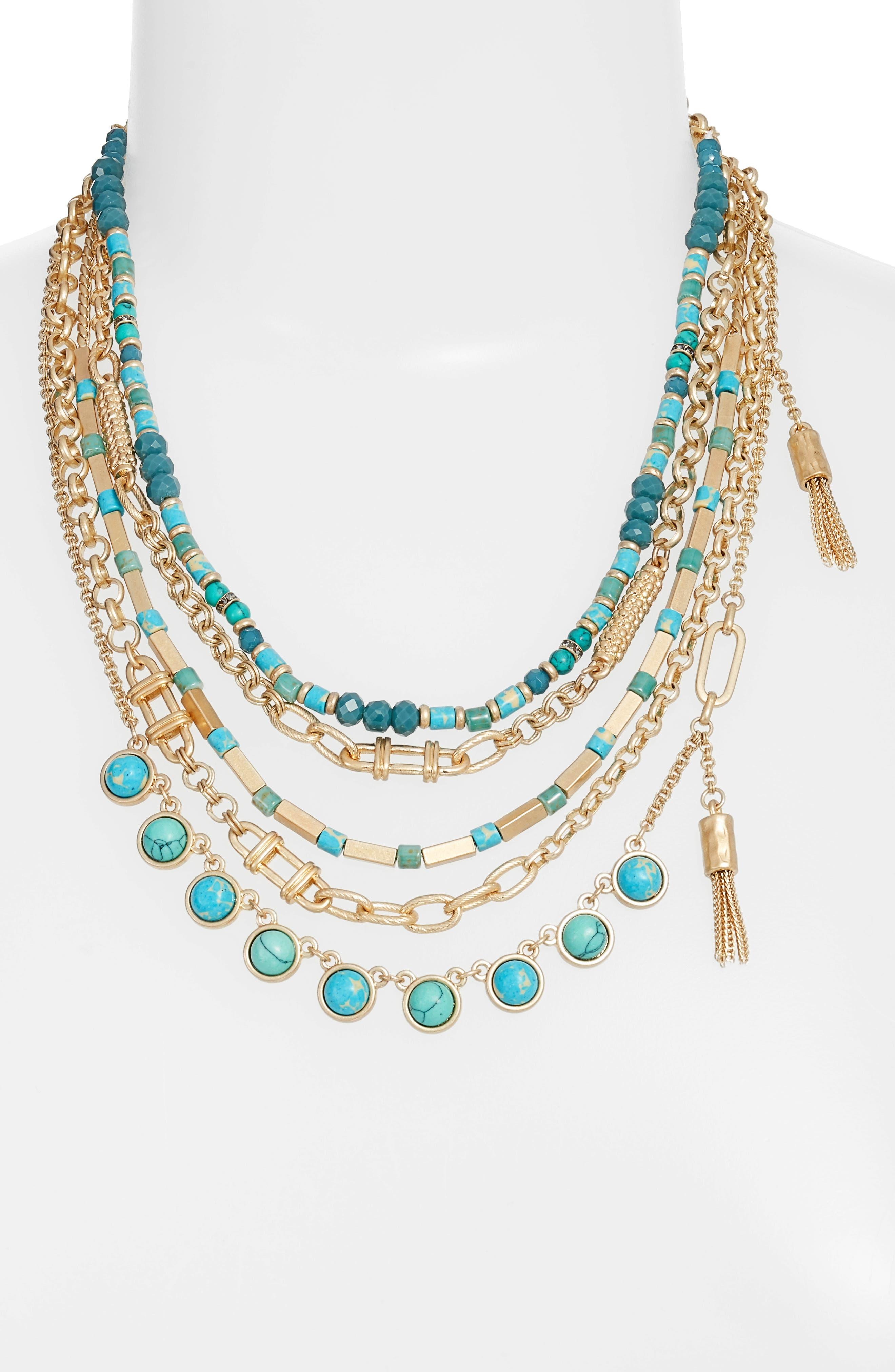 Treasure & Bond Five-Layer Stone Necklace