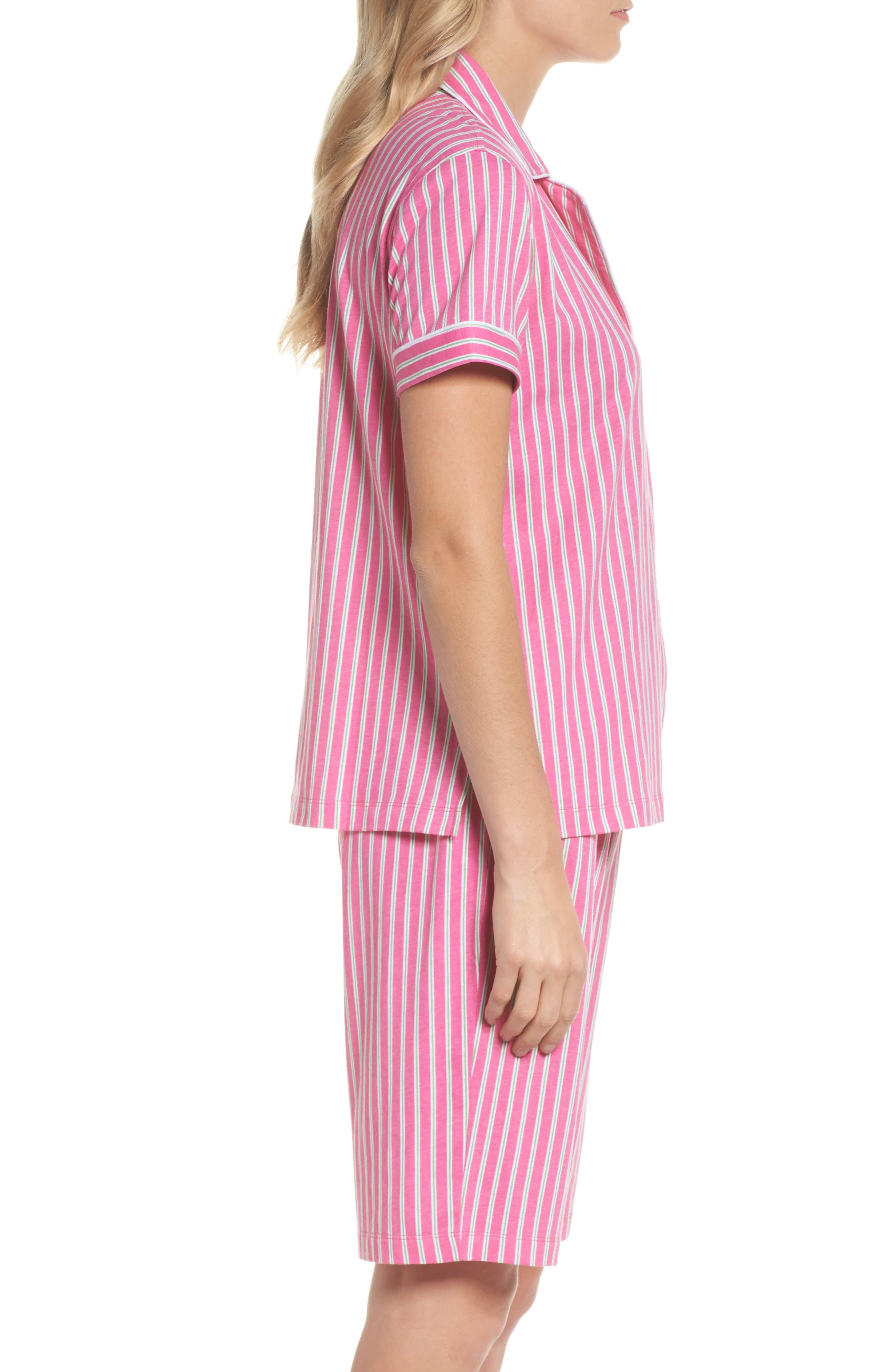Bermuda Pajamas,                             Alternate thumbnail 3, color,                             Pink Stripe