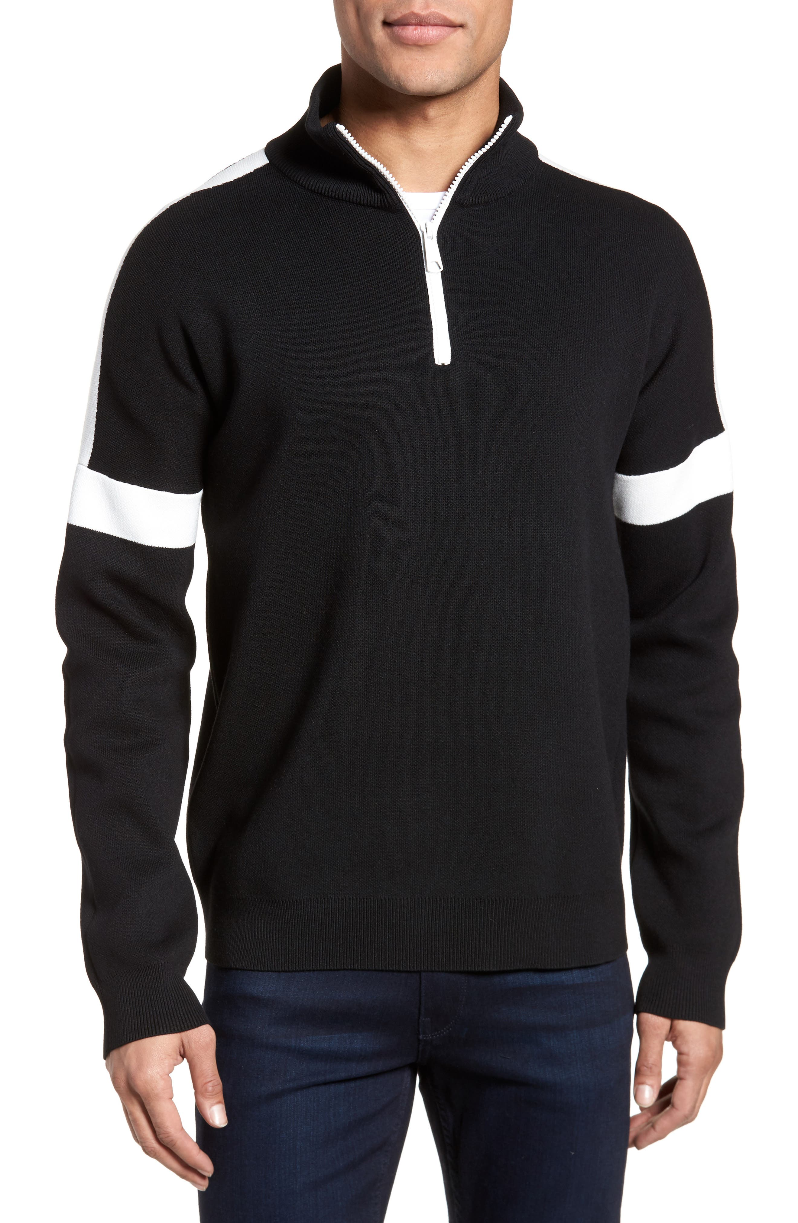Lakra Regular Fit Half Zip Pullover,                         Main,                         color, Black/Milk/Black