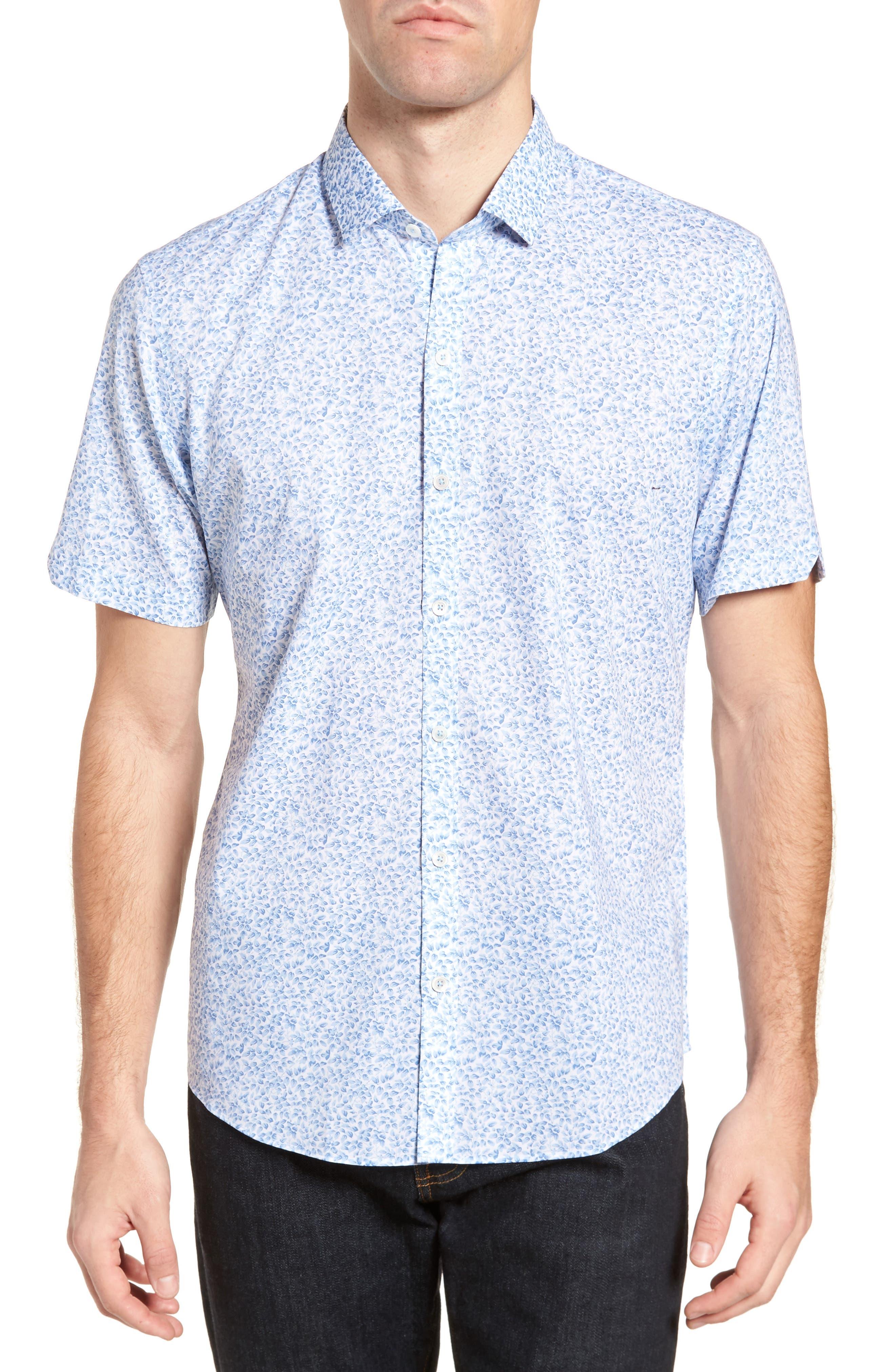 Zachary Prell DeFazio Leaf Print Short Sleeve Sport Shirt