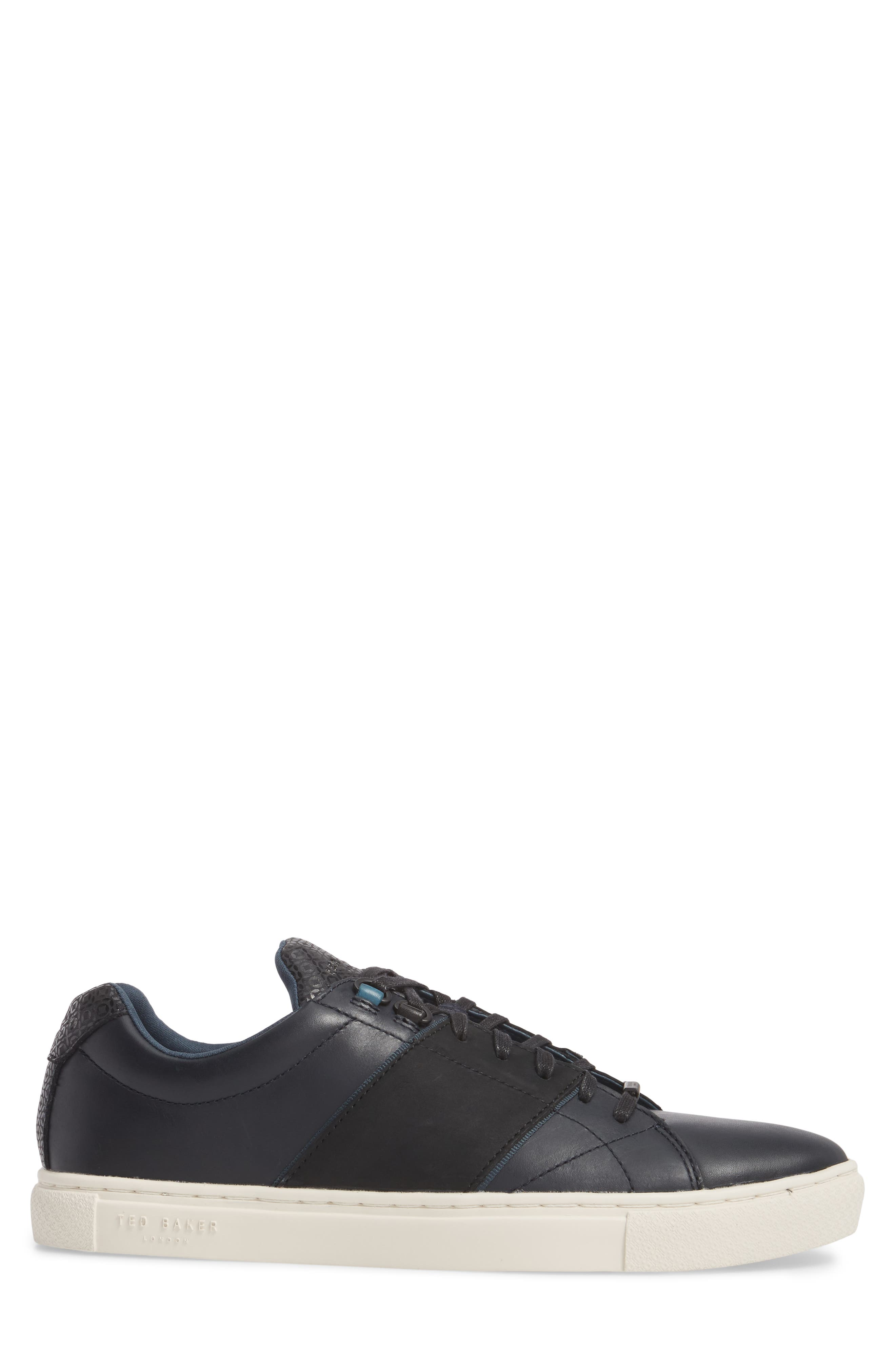 Ted Baker Quana Low Top Sneaker,                             Alternate thumbnail 3, color,                             Dark Blue Leather