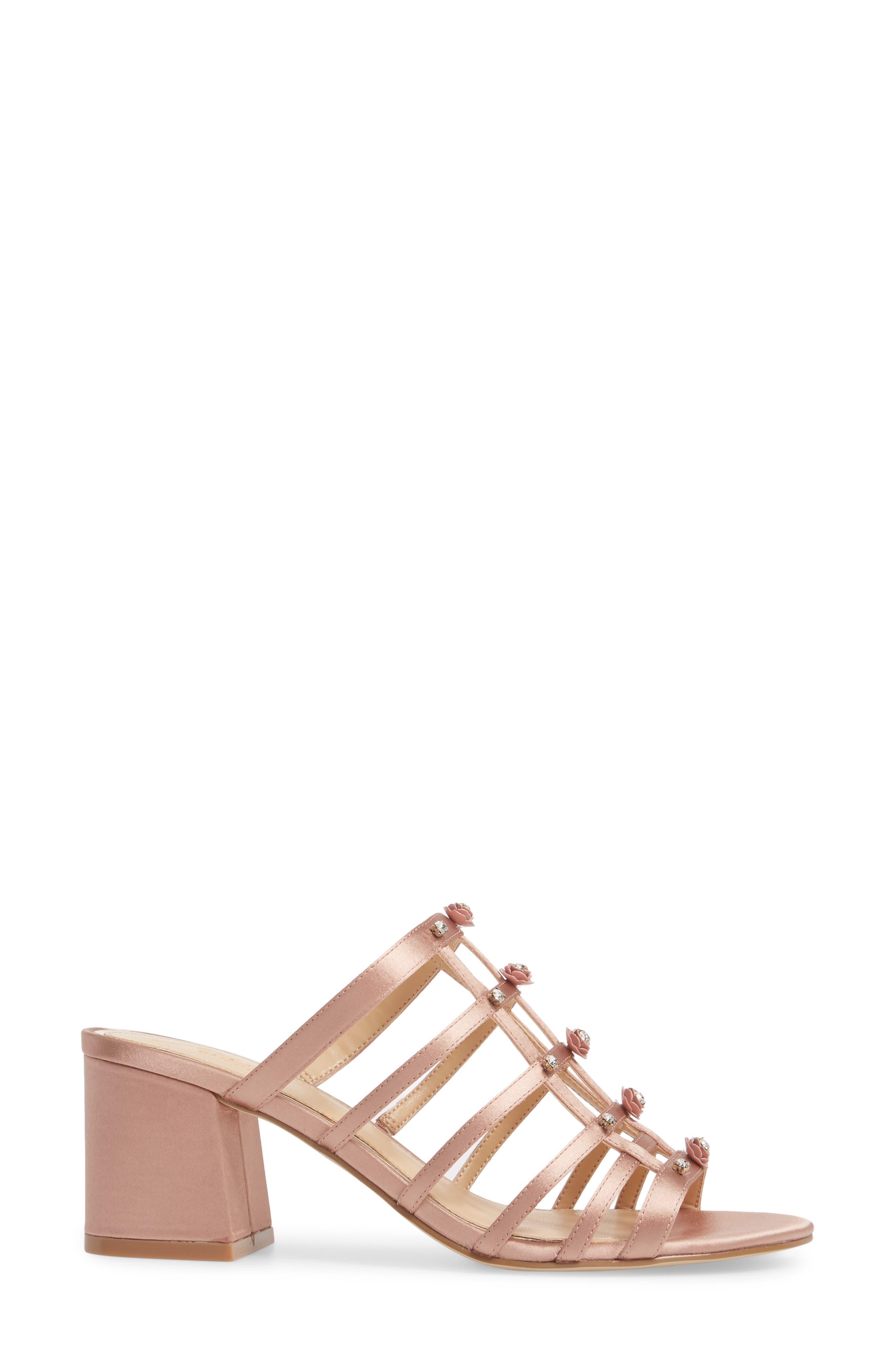 Thorne Crystal Rose Embellished Slide Sandal,                             Alternate thumbnail 3, color,                             Dark Blush Satin